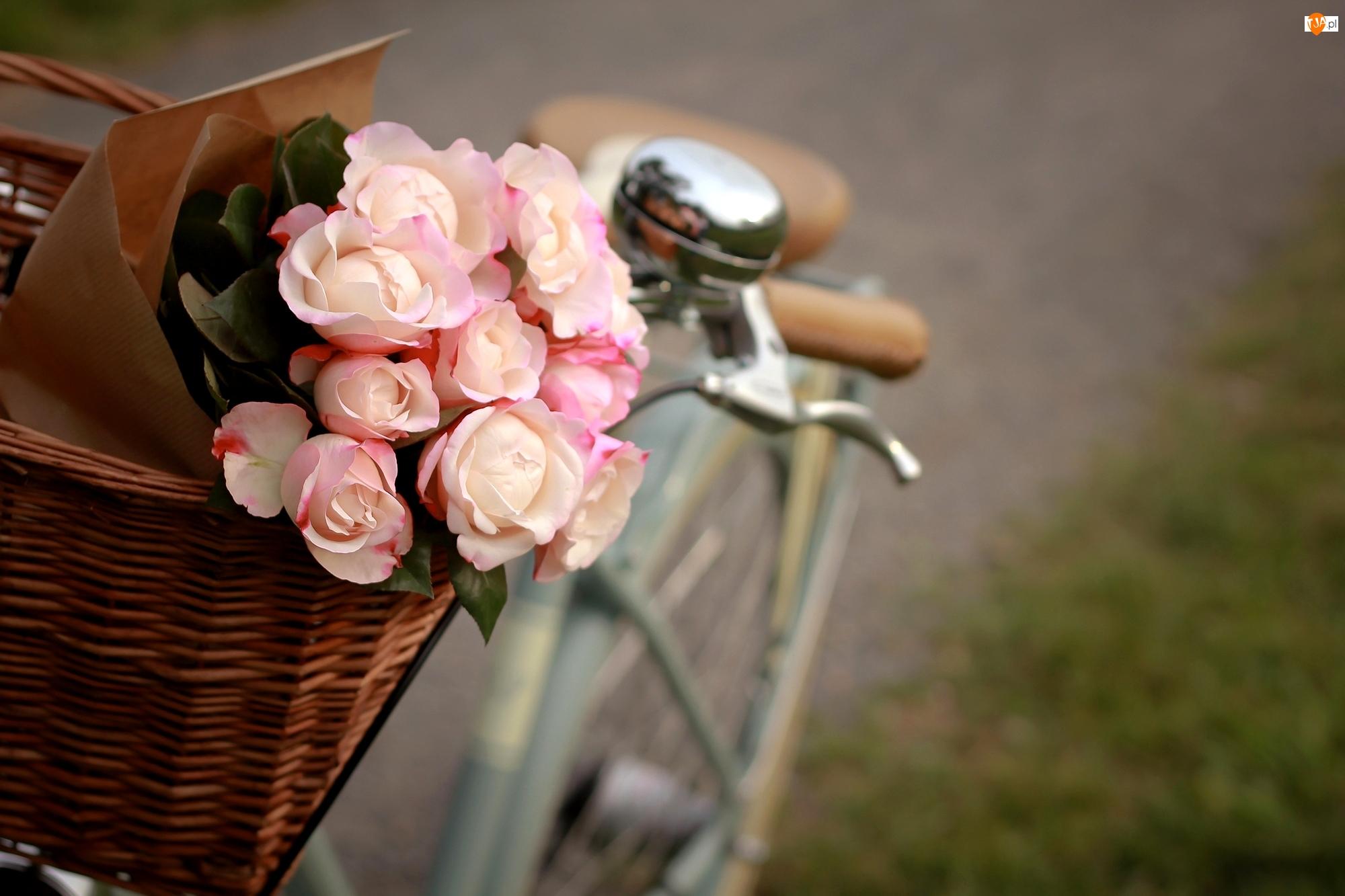 Rozmyte, Kosz, Róże, Różowe, Tło, Bukiet, Rower