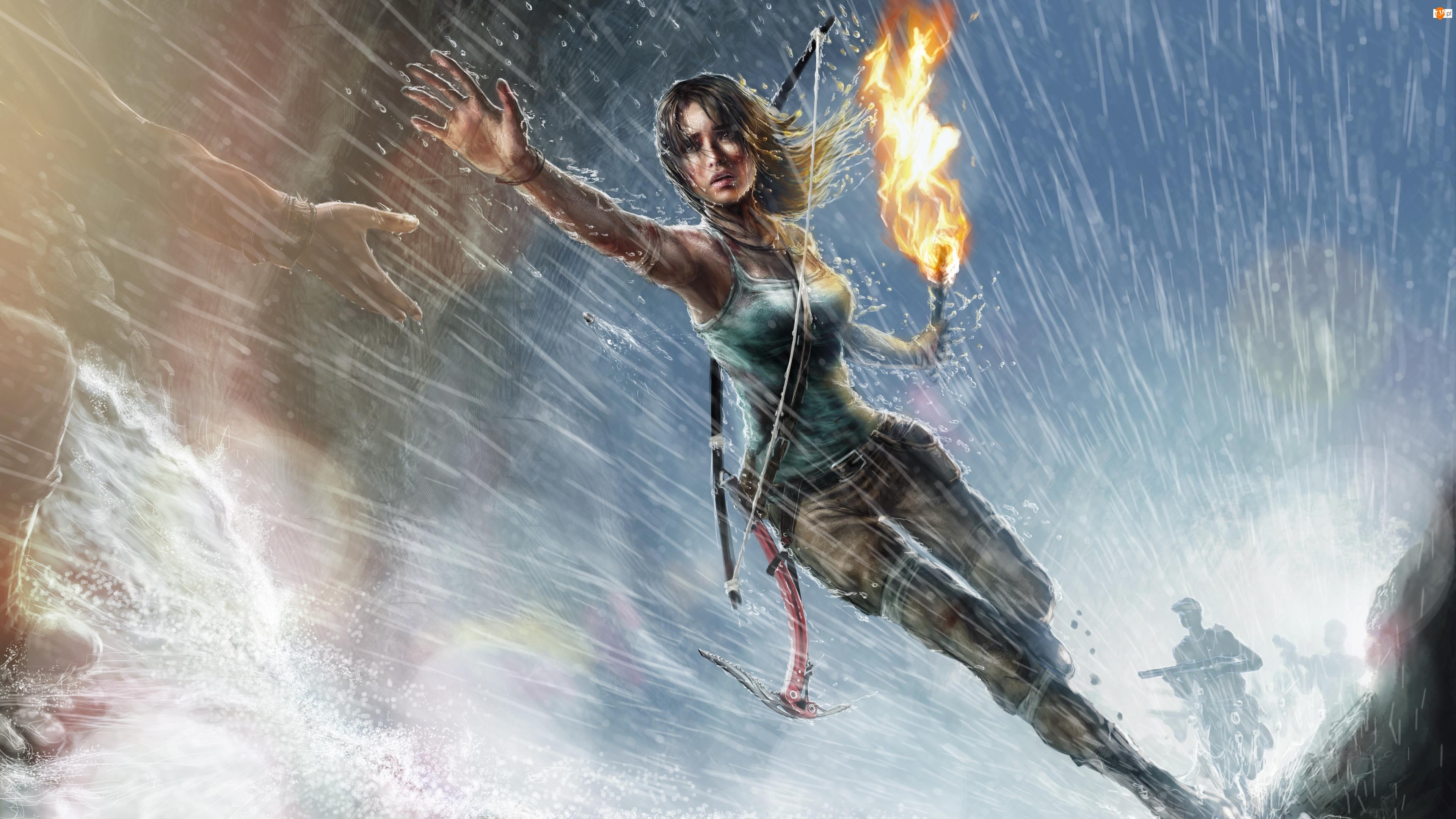 Lara Croft, Pochodnia, Gra, Łuk, Rise of the Tomb Raider, Ręka