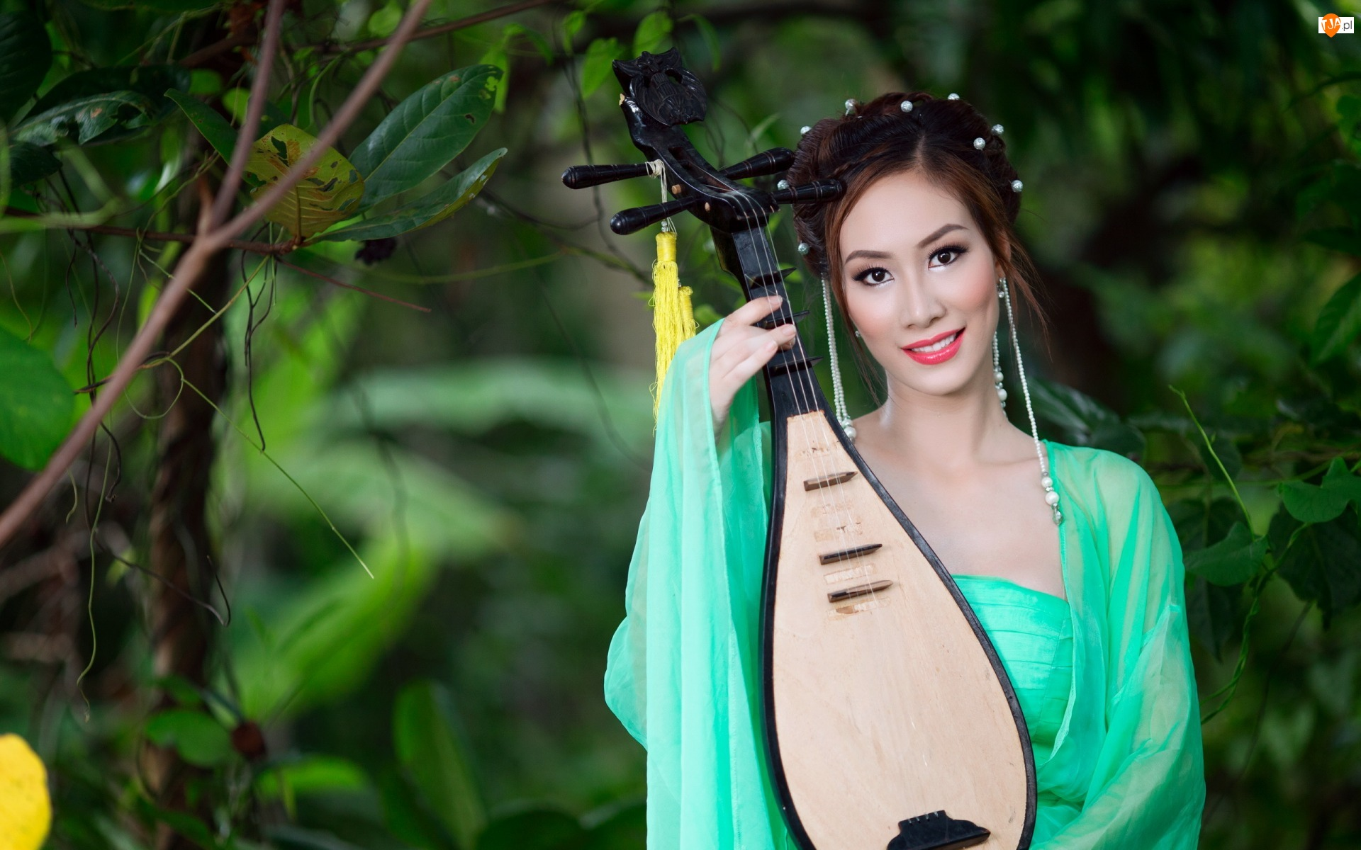 Drzewa, Kobieta, Instrument, Azjatka, Pipa