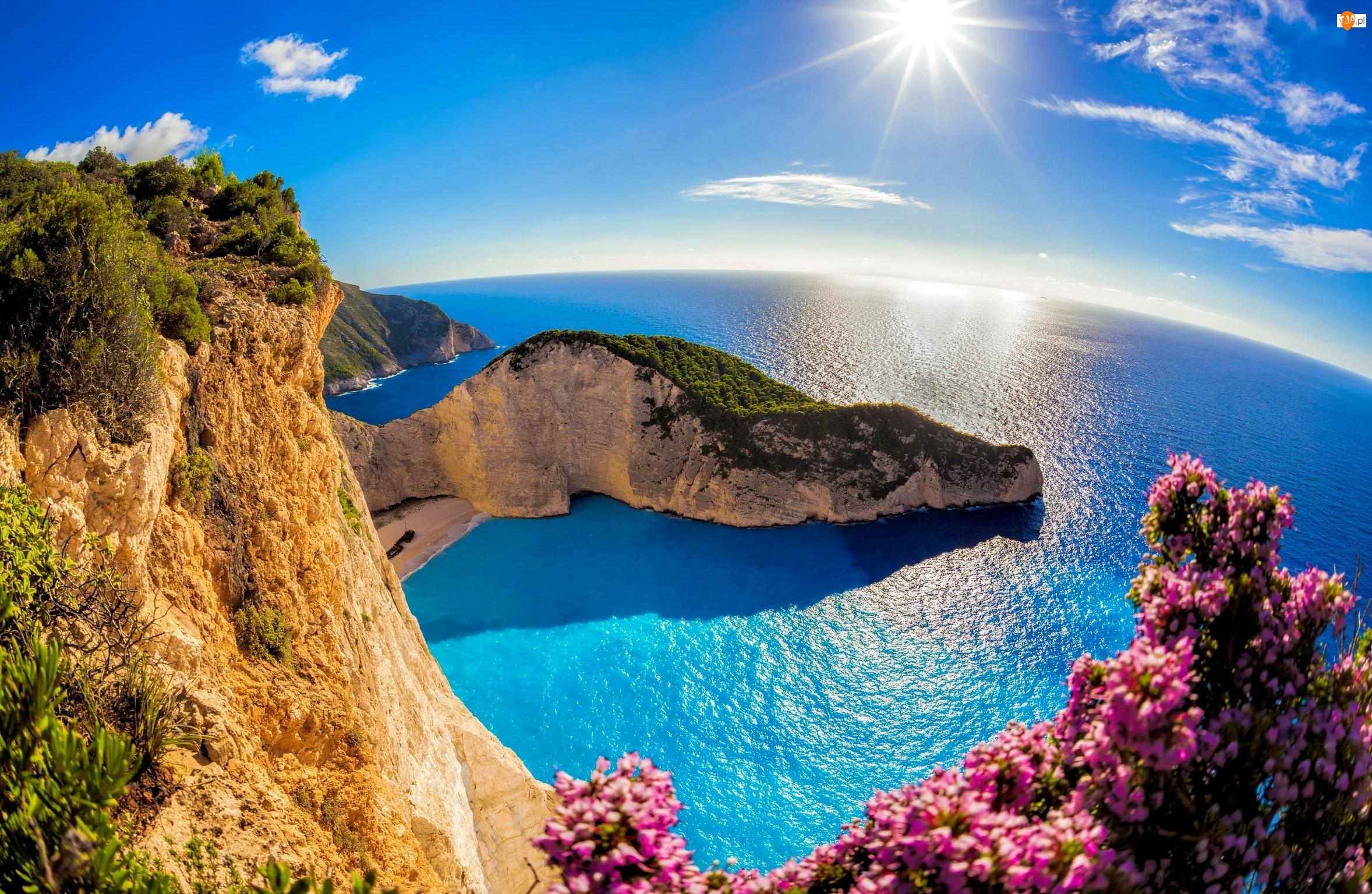 Słońce, Grecja, Plaża Nawajo, Wyspa Zakintos, Morze