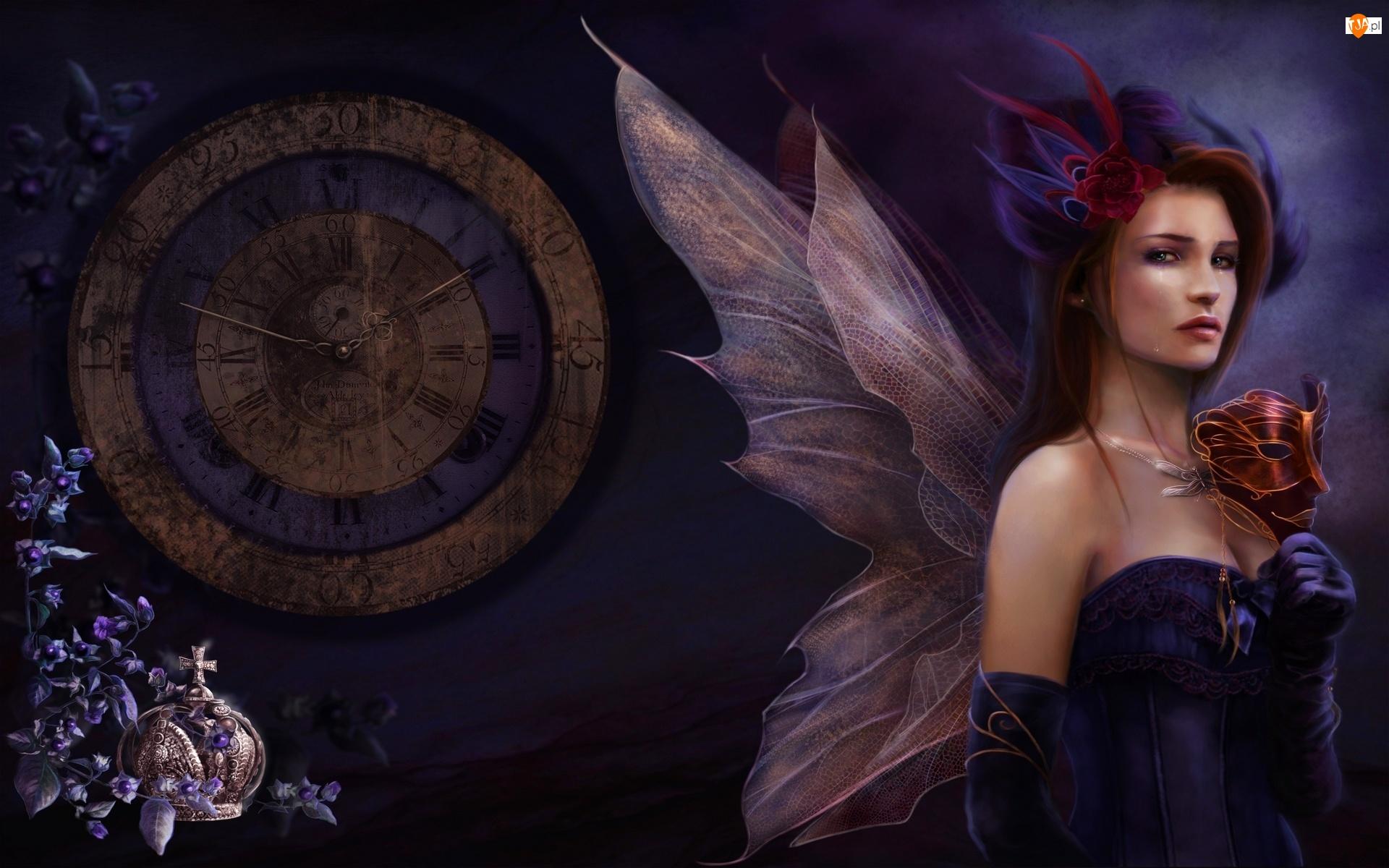 Kobieta, Zegar, Motyl, Maska