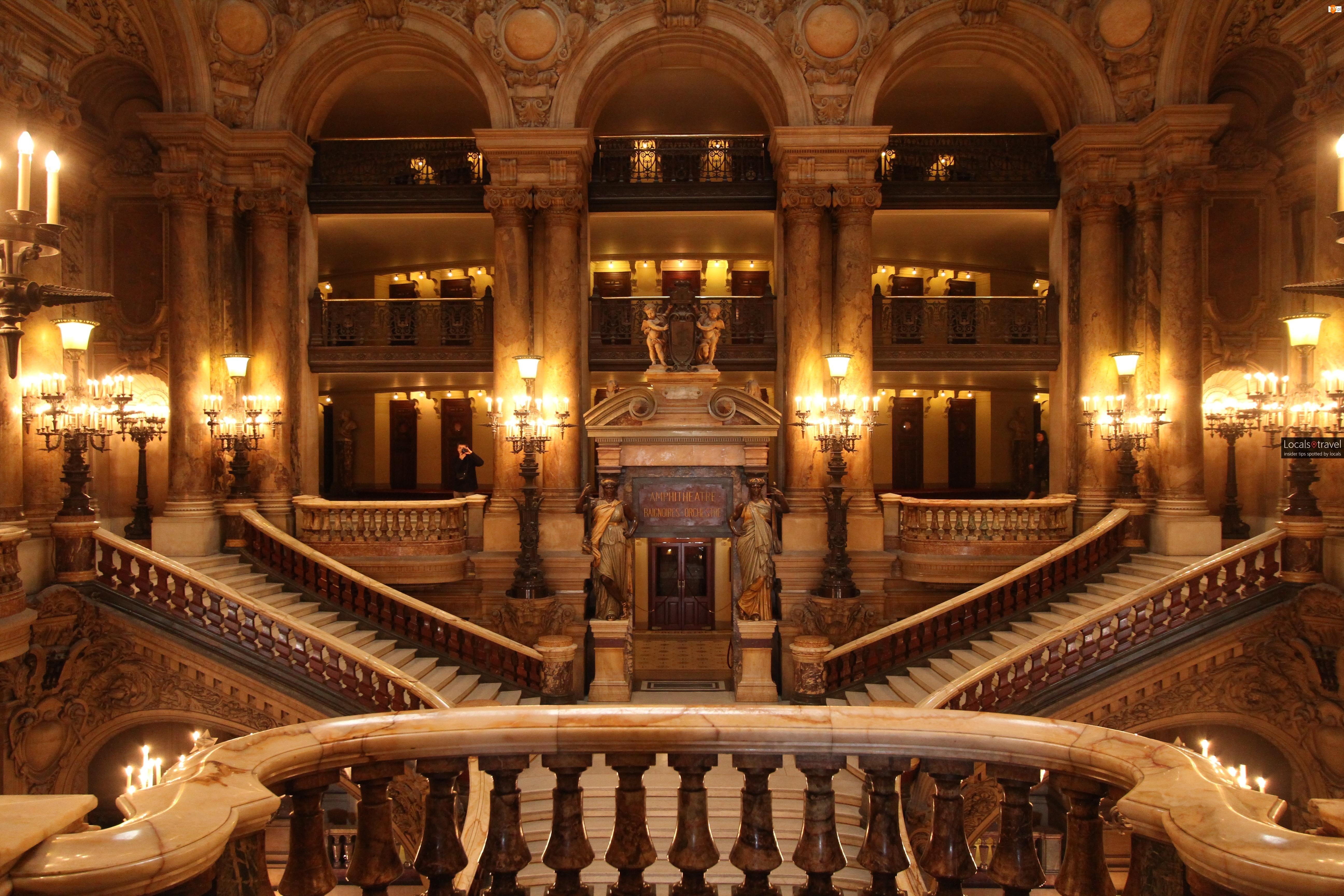 Schody, Francja, Opéra Garnier, Paryż, Wnętrze