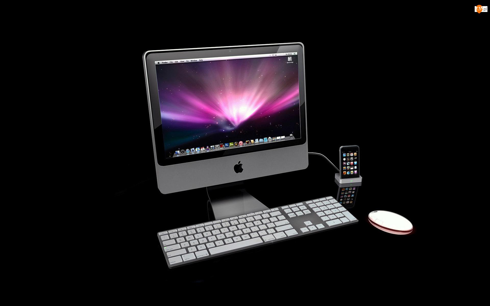 Telefon, Sprzęt komputerowy, Klawiatura, Monitor, Myszka