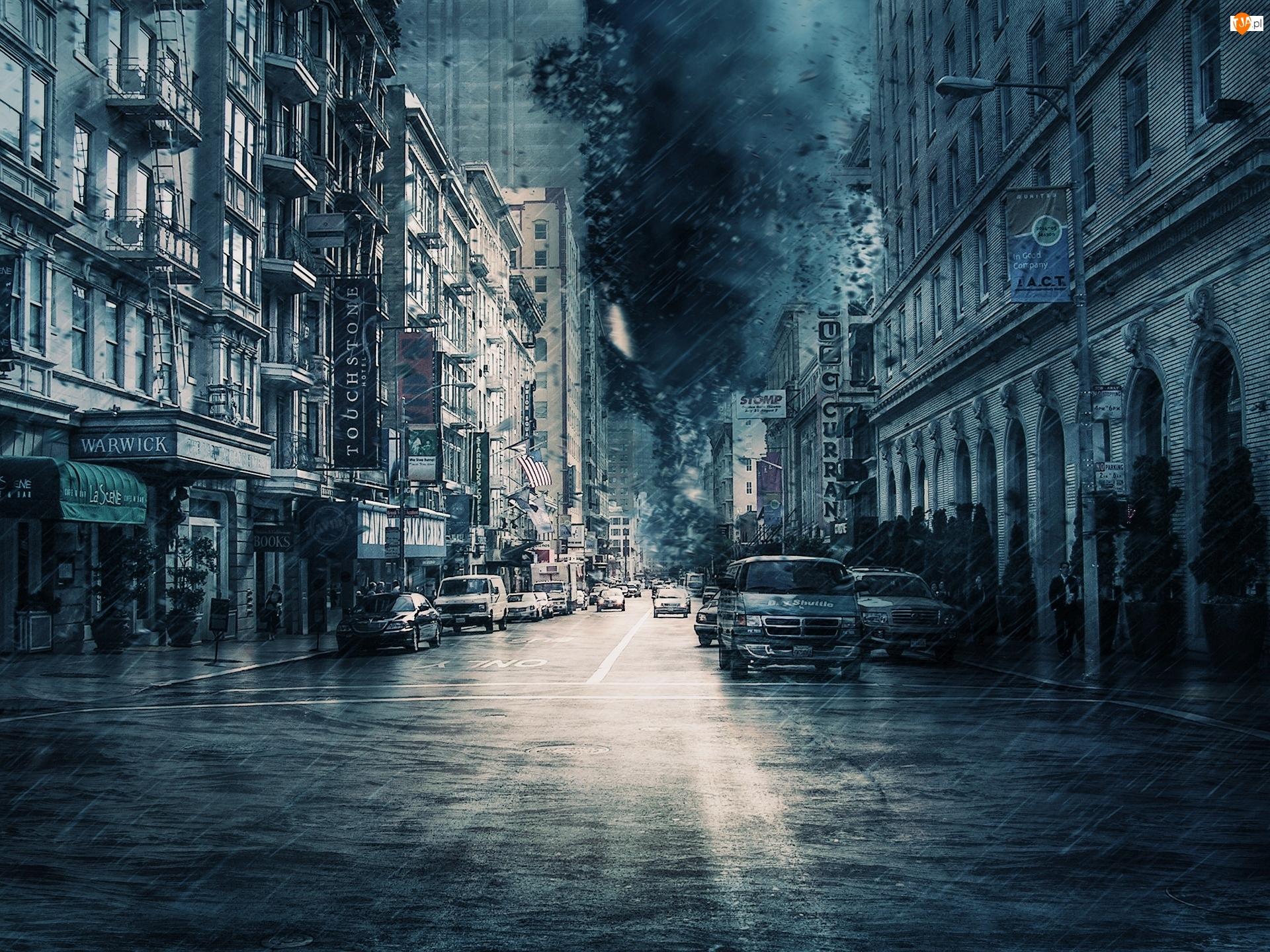 Samochody, Deszcz, Ulica, Miasto, Domy