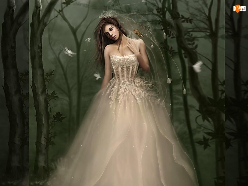 Panna młoda, Kobieta, Suknia, Biała, Welon