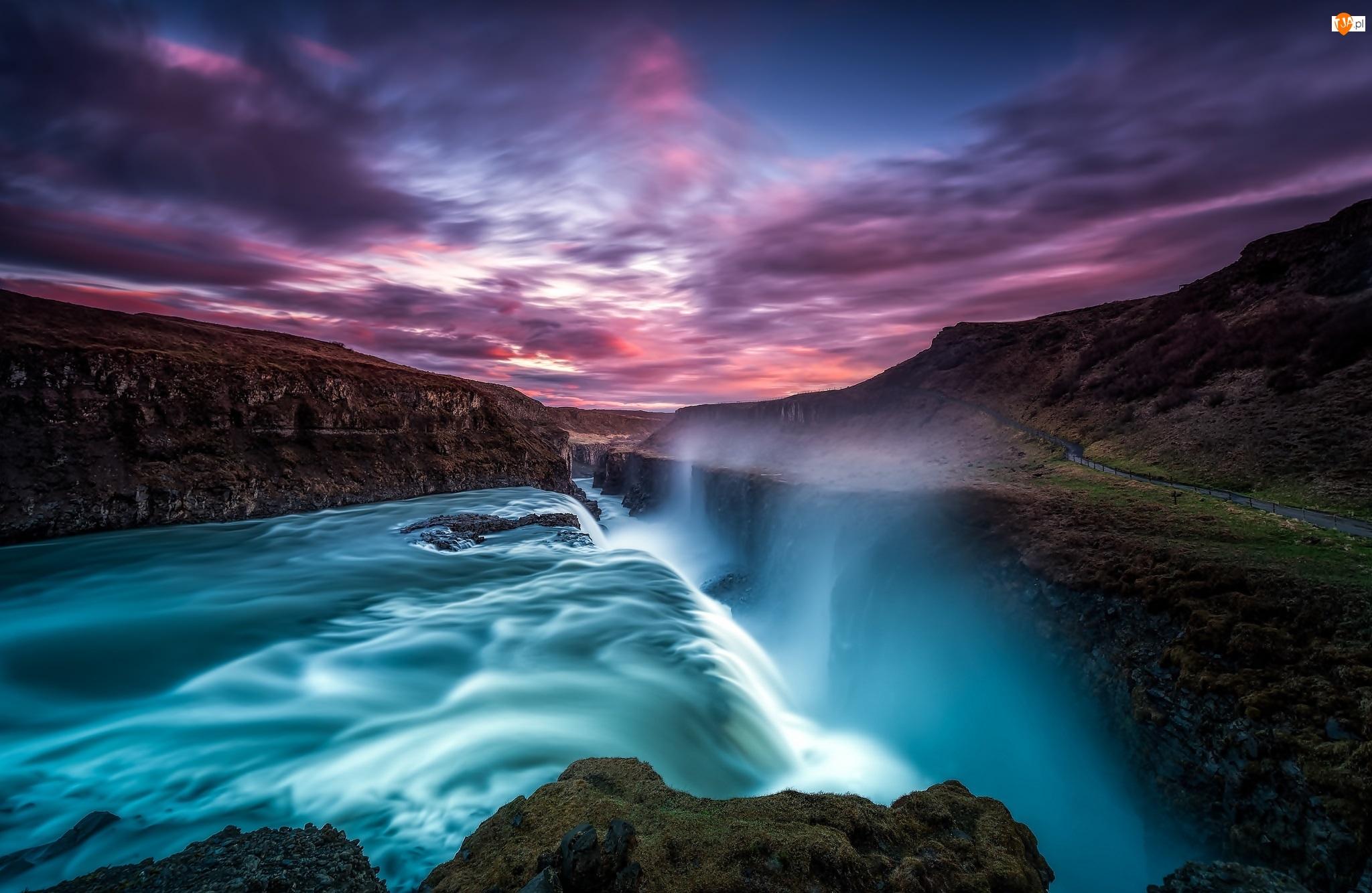Skały, Islandia, Chmury, Zachód słońca, Wodospad Gullfoss