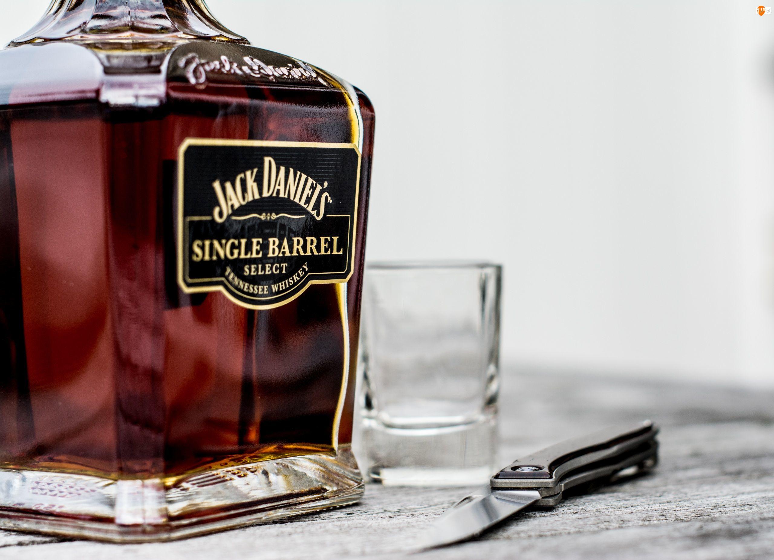 Nóż, Butelka, Jack Daniels, Whisky, Szklanka