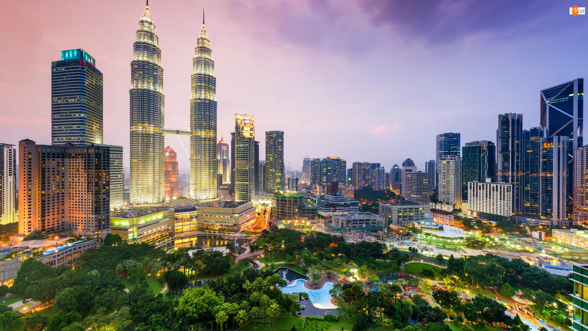 Petronas Towers, Malezja, Miasto, Kuala Lumpur, Wieżowce