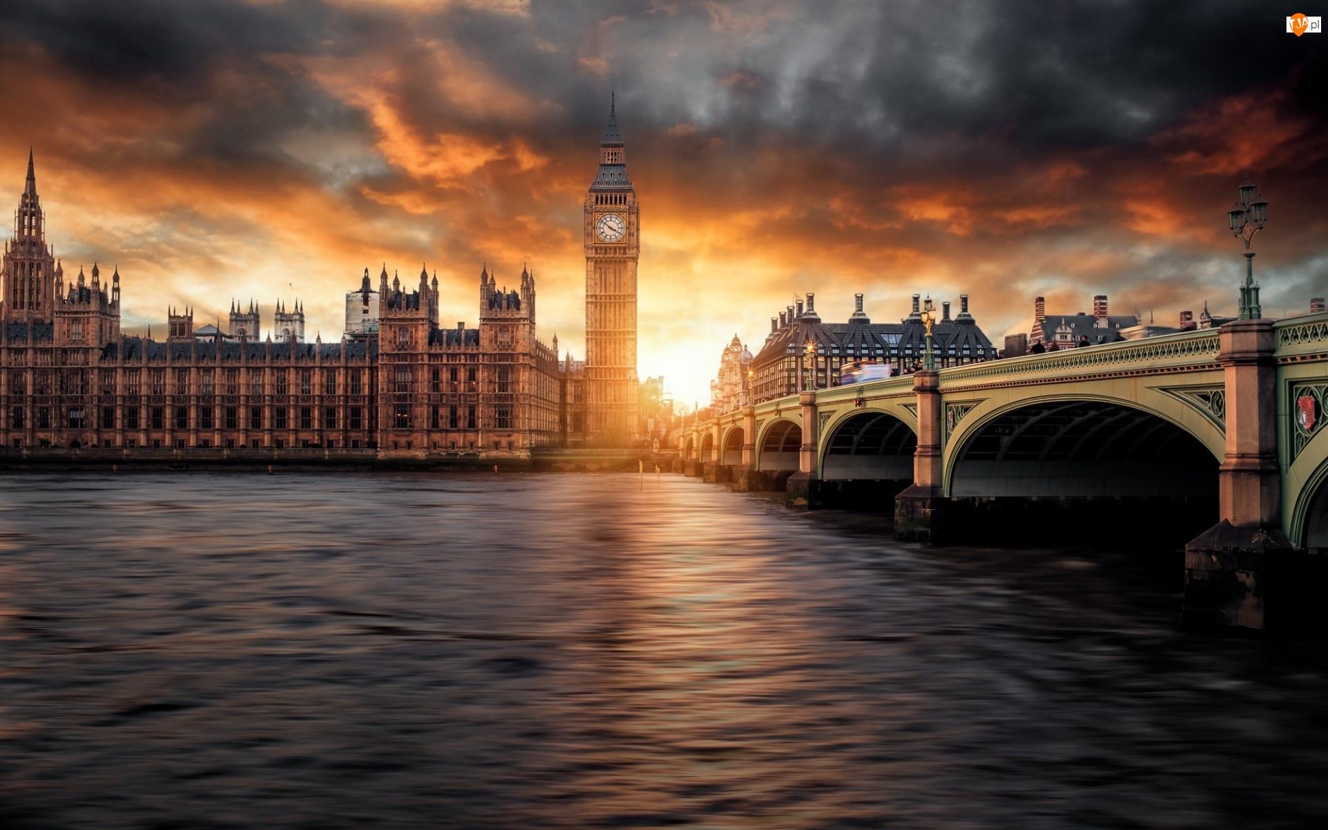 Rzeka Tamiza, Big Ben, Anglia, Zachód Słońca, Londyn, Most Westminsterski