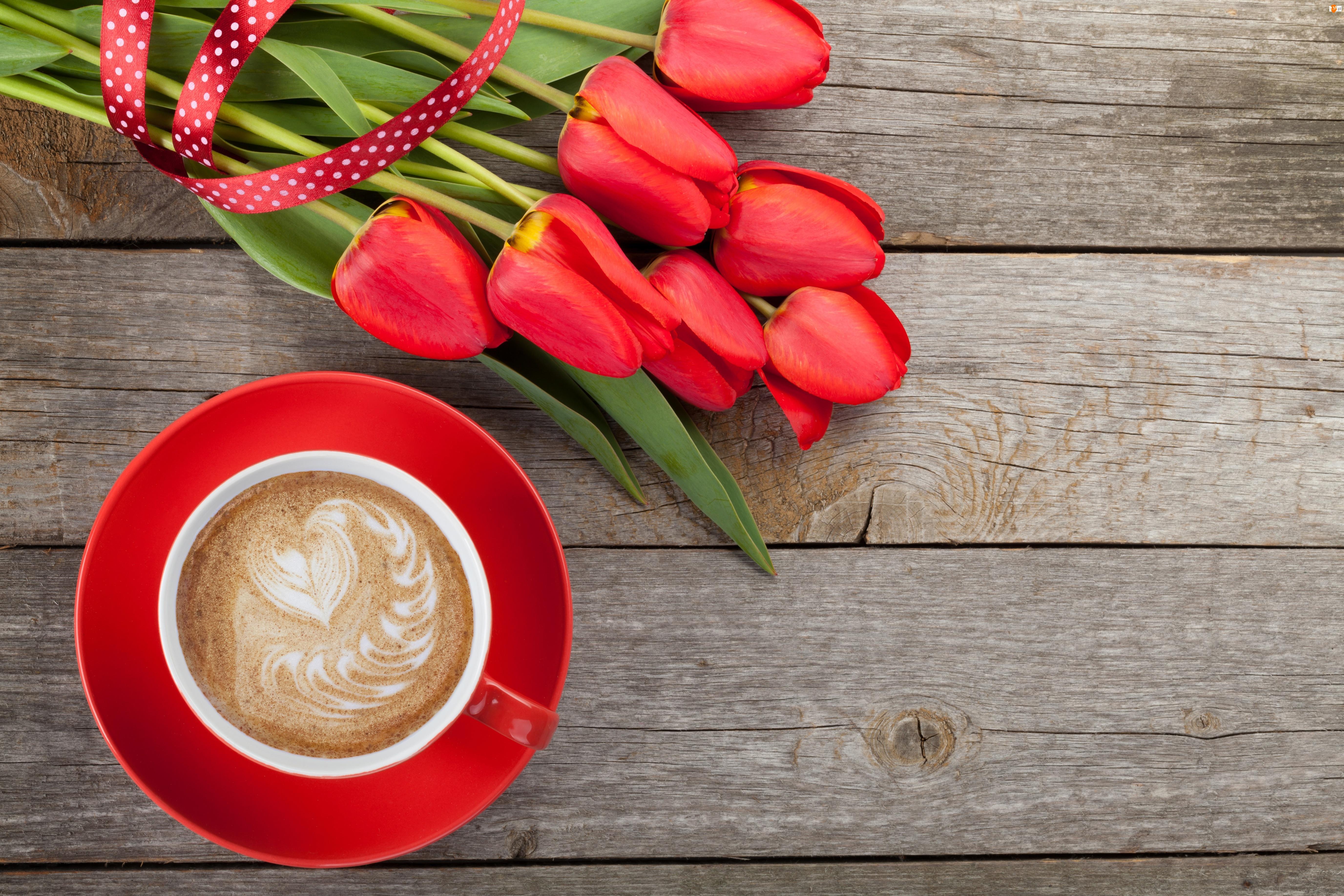 Tulipany, Filiżanka, Kawa, Czerwona