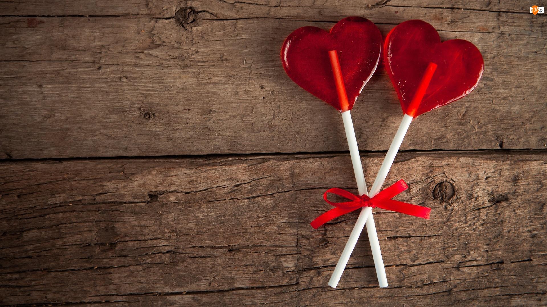 Miłość, Dwa, Serduszka, Czerwone, Lizaki