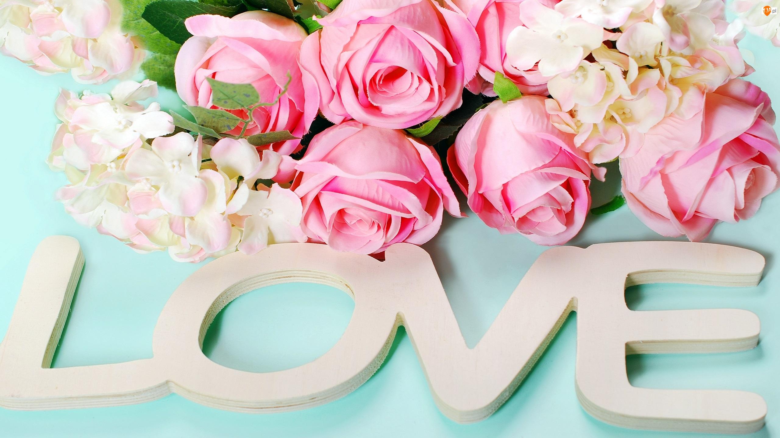 Miłość, Róże, Napis, Love