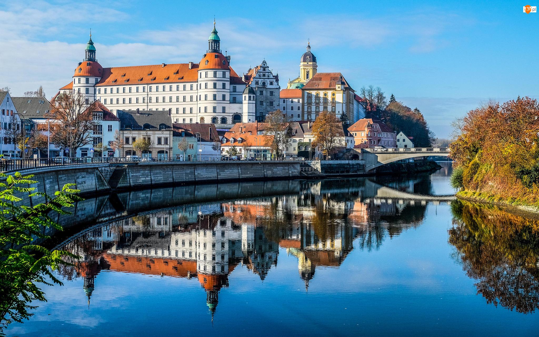 Odbicie, Niemcy, Zamek Neuburg Castle, Bawaria, Rzeka Dunaj