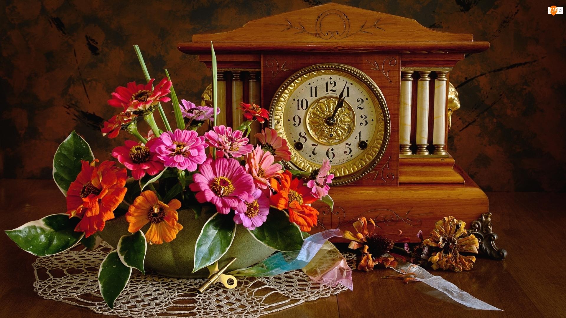 Zegar, Kompozycja, Kwiaty, Bukiet, Cynie