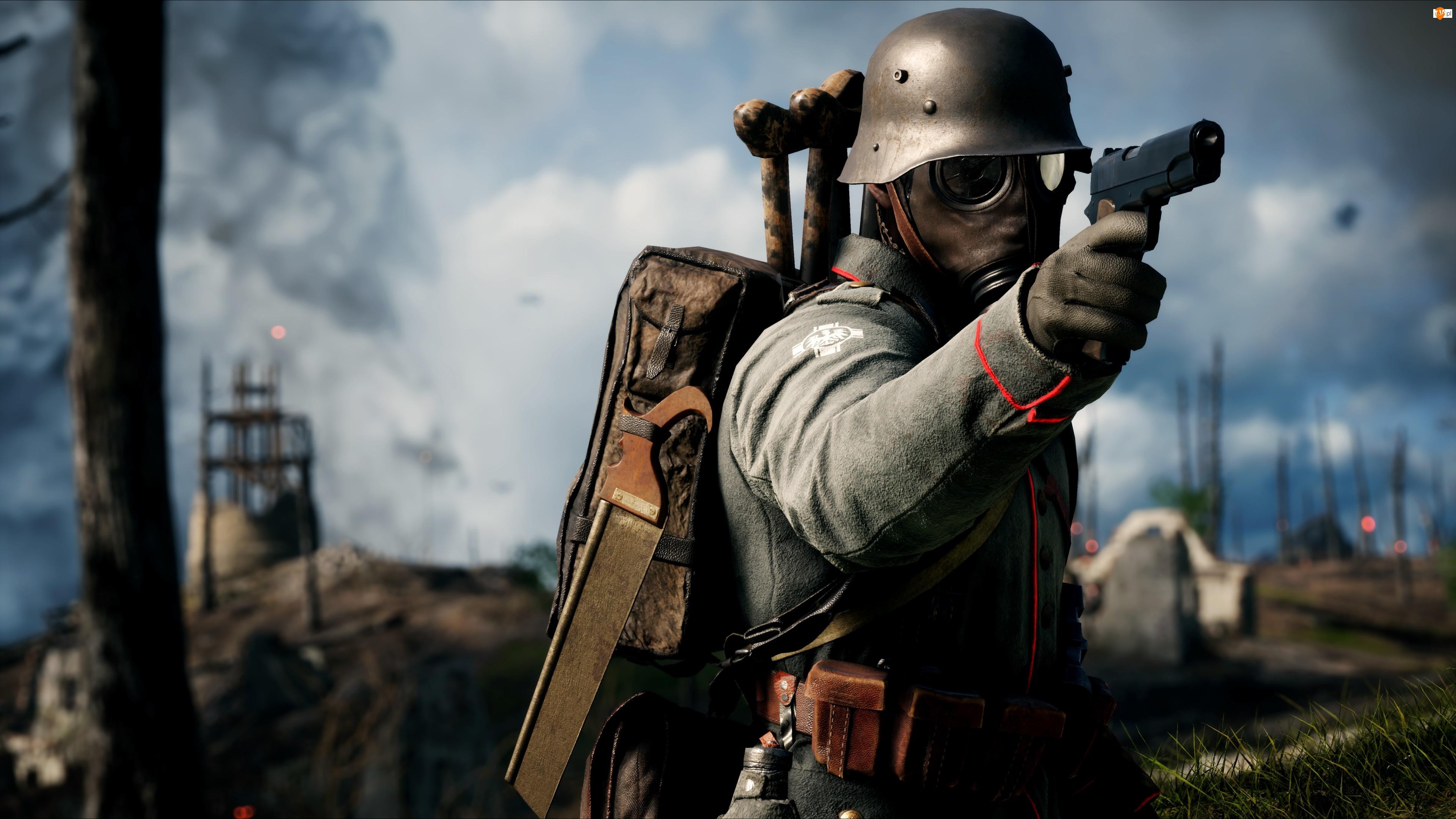 Mundur, Plecak, Battlefield 1, Hełm, Gra, Maska przeciwgazowa, Żołnierz, Pistolet