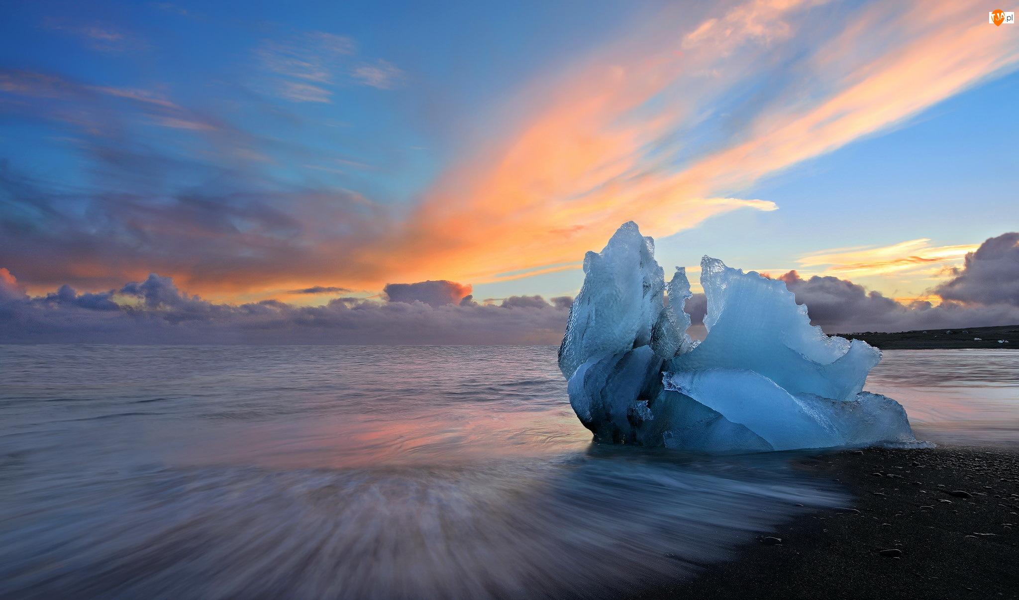Zachód słońca, Islandia, Bryła, Jezioro Jökulsárlón, Lód