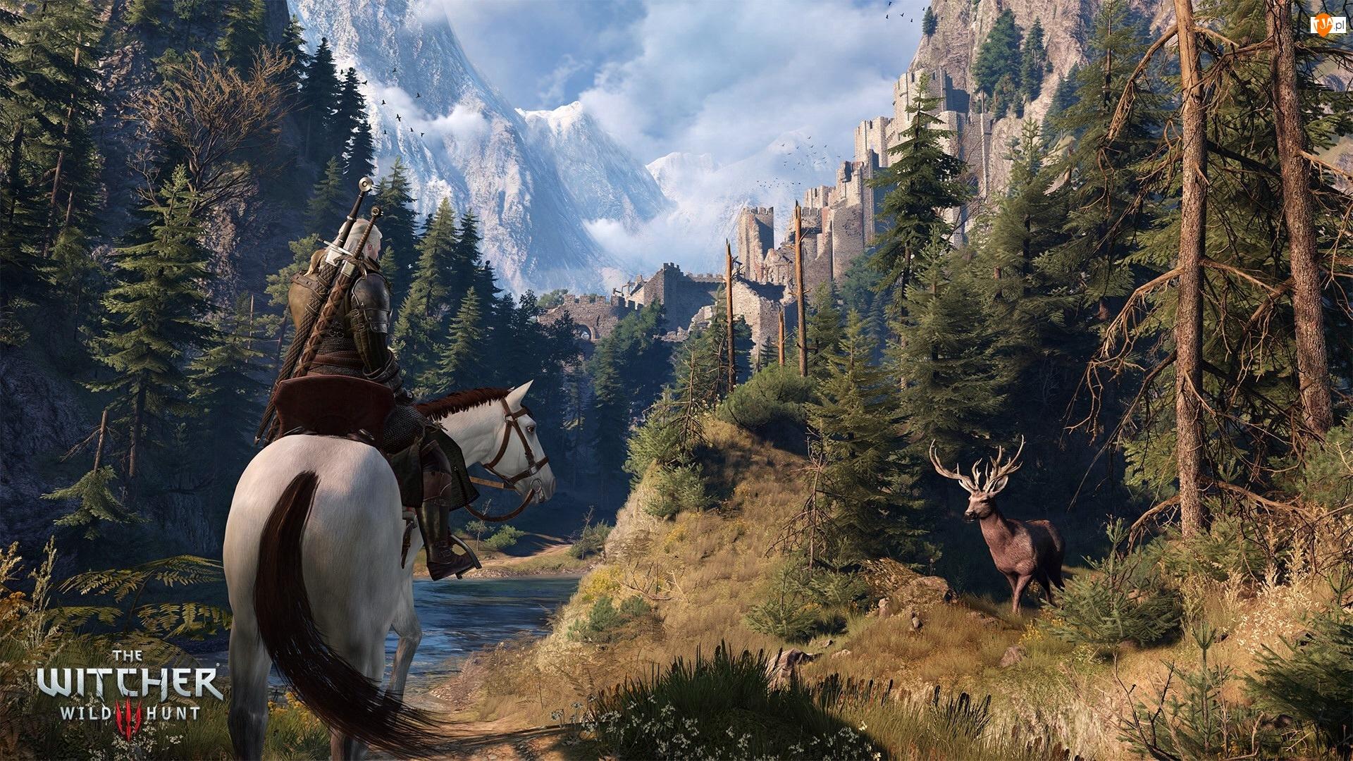 Twierdza, Lasy, Wiedźmin 3: Dziki Gon - The Witcher 3: Wild Hunt, Gra, Szczyty, Koń, Jeleń