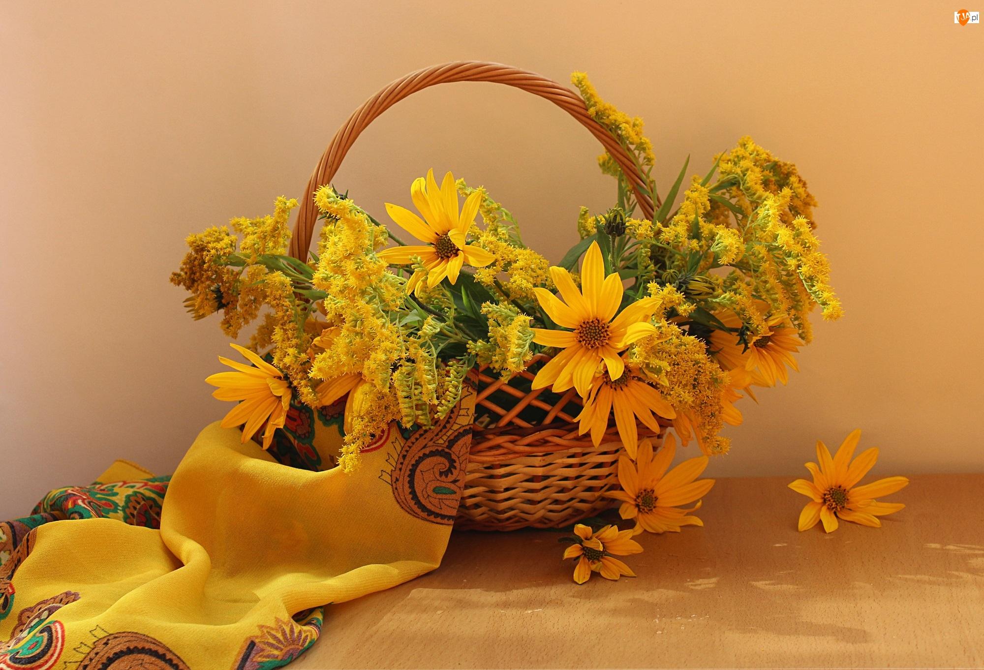 Słoneczniki ozdobne, Koszyk, Bukiet, Kwiaty, Nawłoć
