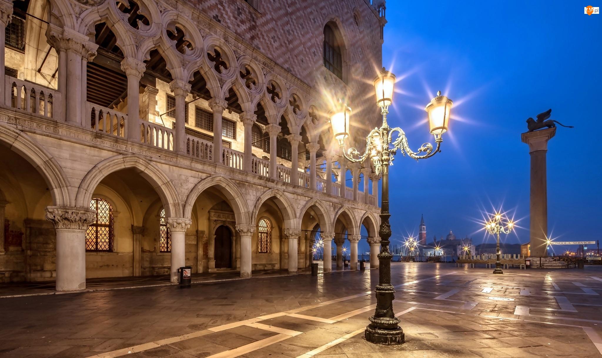 Kolumna św Marka, Pałac Dożów, Włochy, Latarnie, Wenecja, Piazzetta San Marco