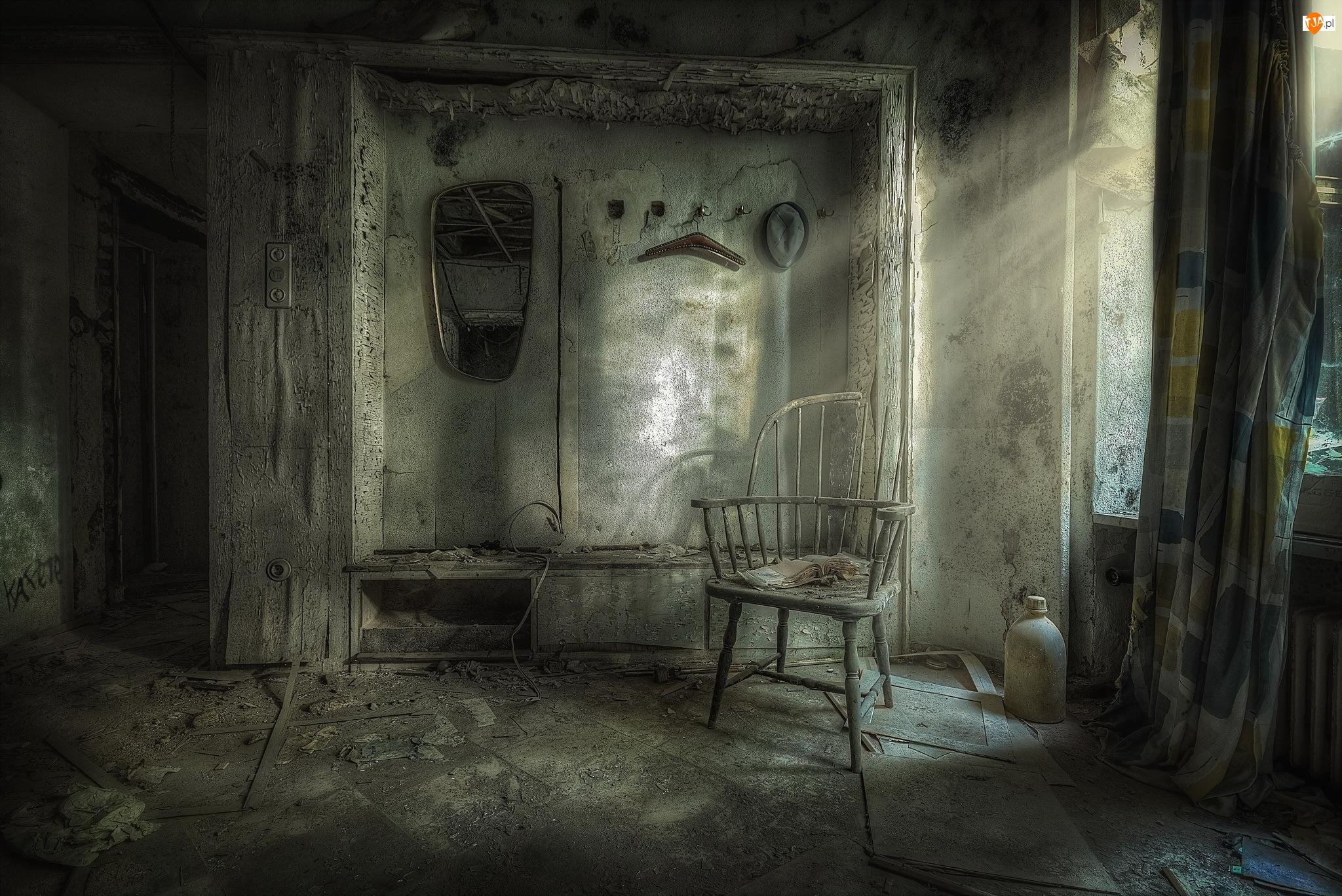 Światło, Zaniedbany, Zniszczone, Pokój, Krzesło