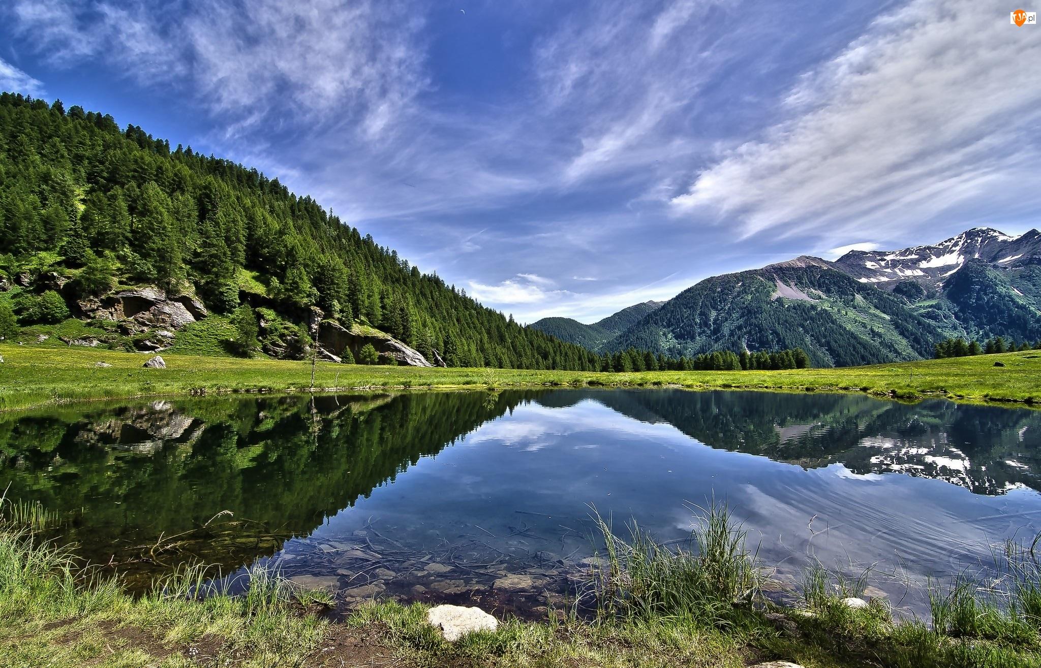 Wzgórza, Drzewa, Góry, Jezioro