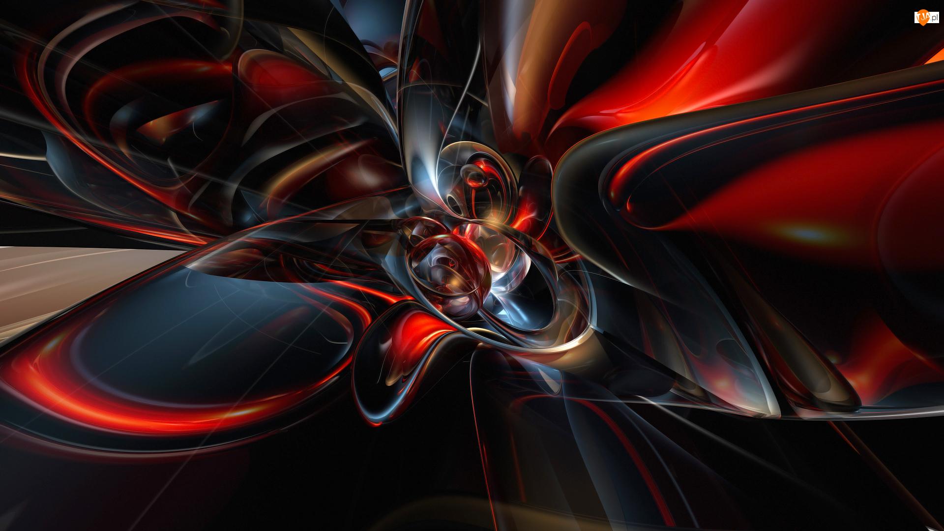 Czerwono-czarna, Grafika 3D, Abstrakcja