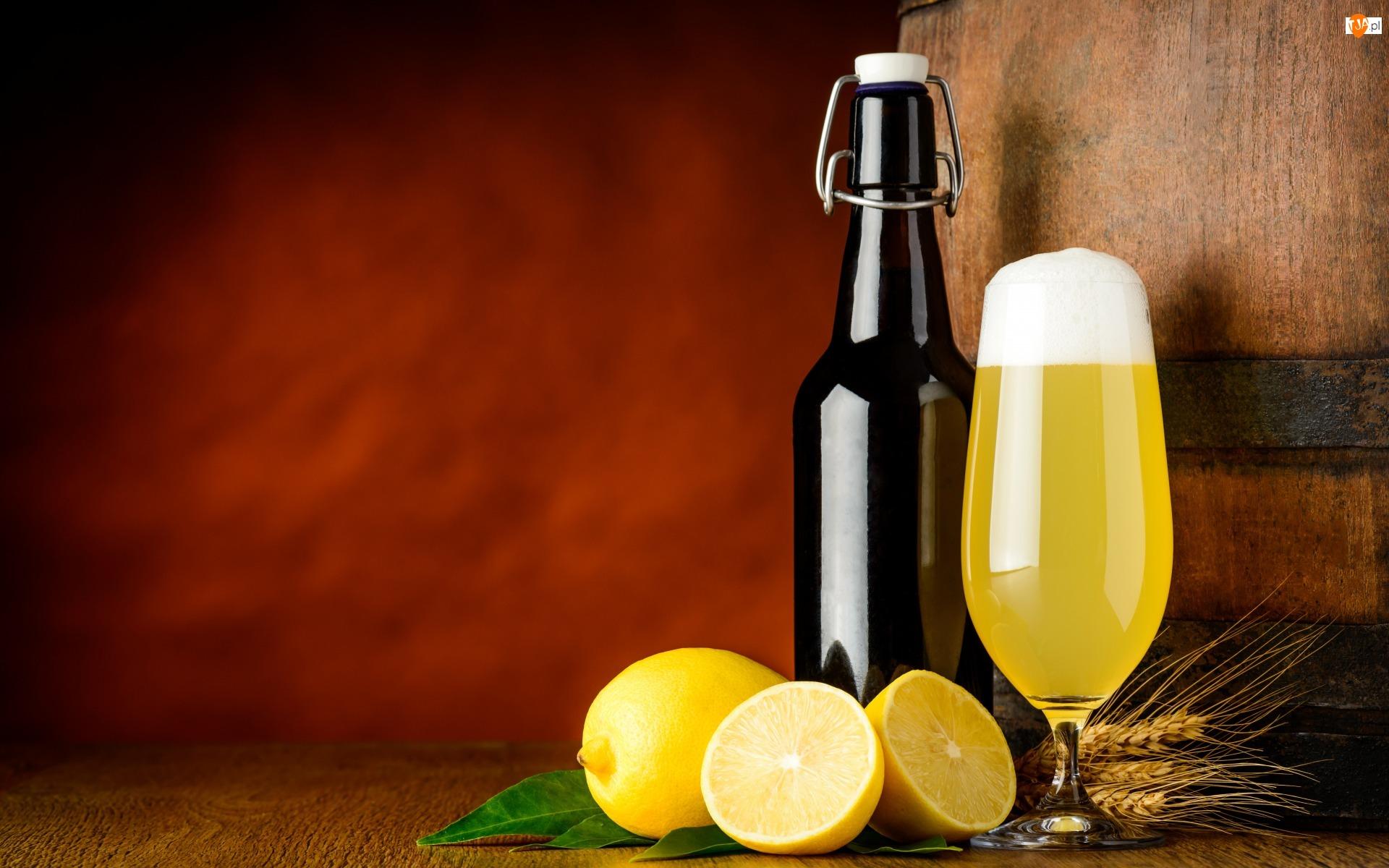 Zboże, Owoce, Piwo, Alkohol, Kłosy, Butelka, Cytryna