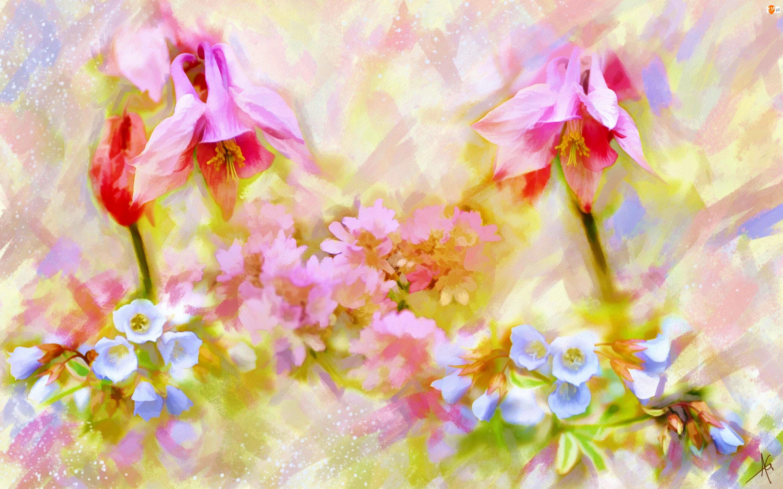 Kwiaty, Obraz, Akwarela, Alberto Guillen, Orlik