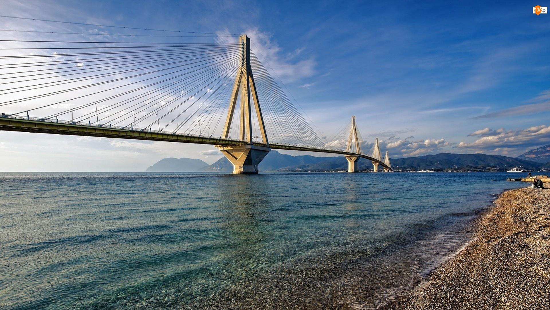 Góry, Grecja, Morze Jońskie, Cieśnina Rio-Andirio, Most wantowy Rio – Andirio