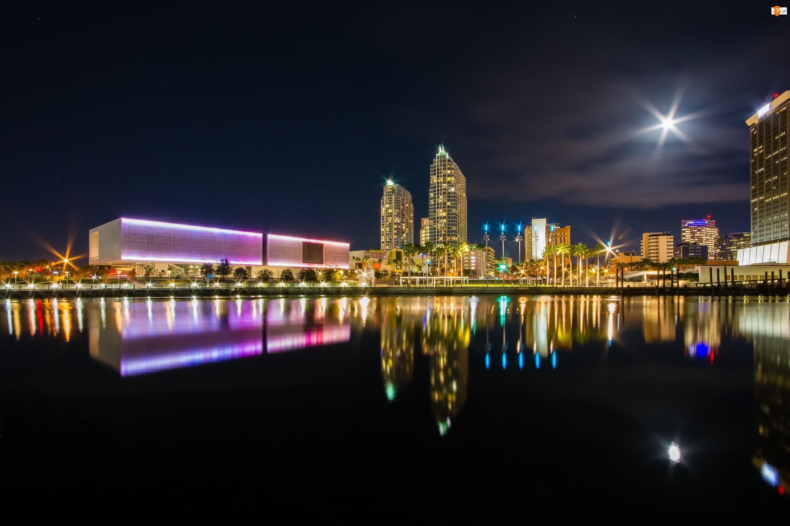 Domy, Park Curtis Hixon Waterfront, Stan Floryda, Stany Zjednoczone, Miasto nocą, Tampa, Rzeka Hillsborough