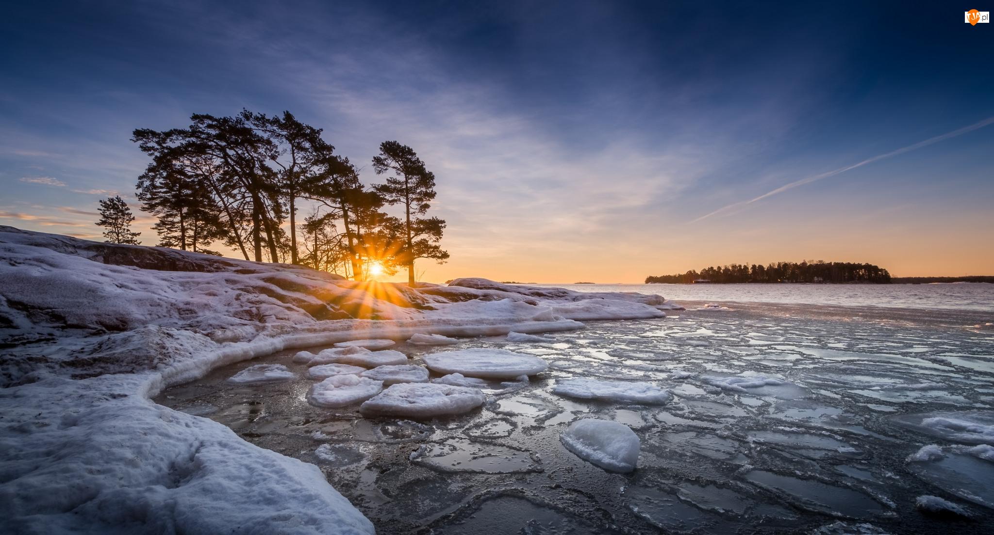 Morze, Zatoka, Półwysep Kallviksudden, Drzewa, Helsinki, Zachód słońca, Finlandia, Promienie słońca, Plaża Kallahdenniemi, Zima