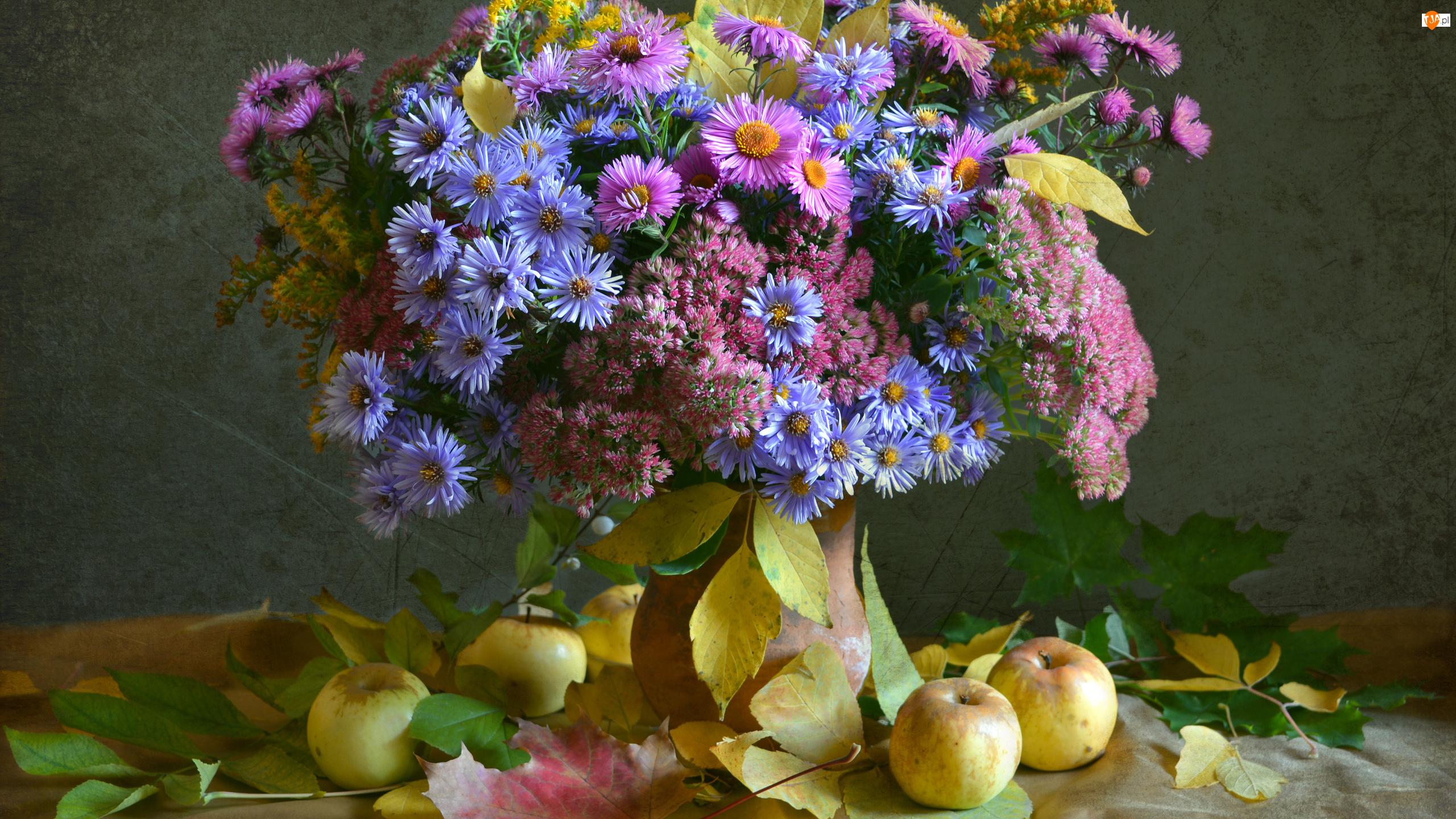Kwiaty, Liście, Kompozycja, Jabłka, Bukiet, Astry marcinki