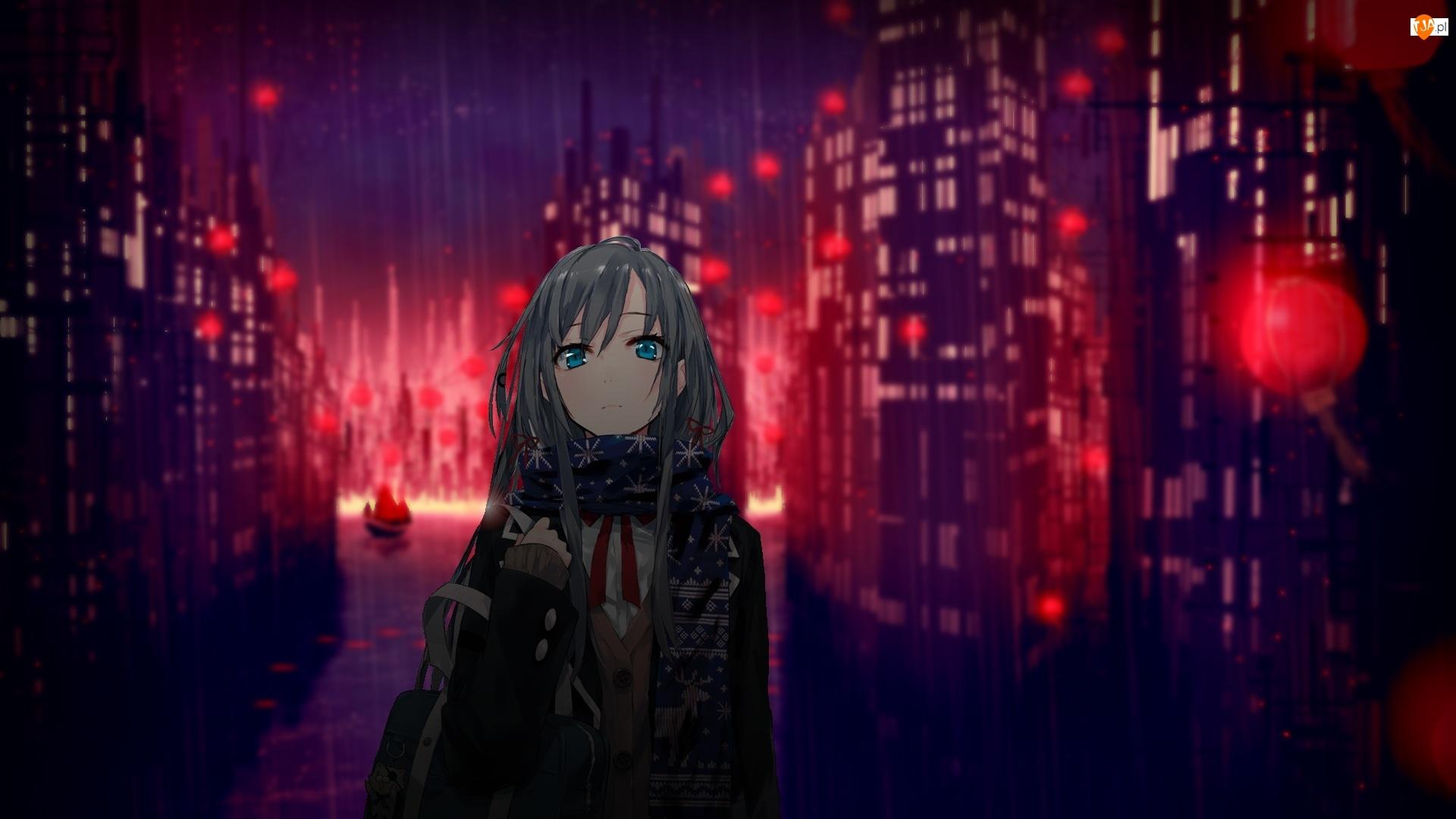Noc, Manga Anime, Dziewczyna, Smutna, Deszcz