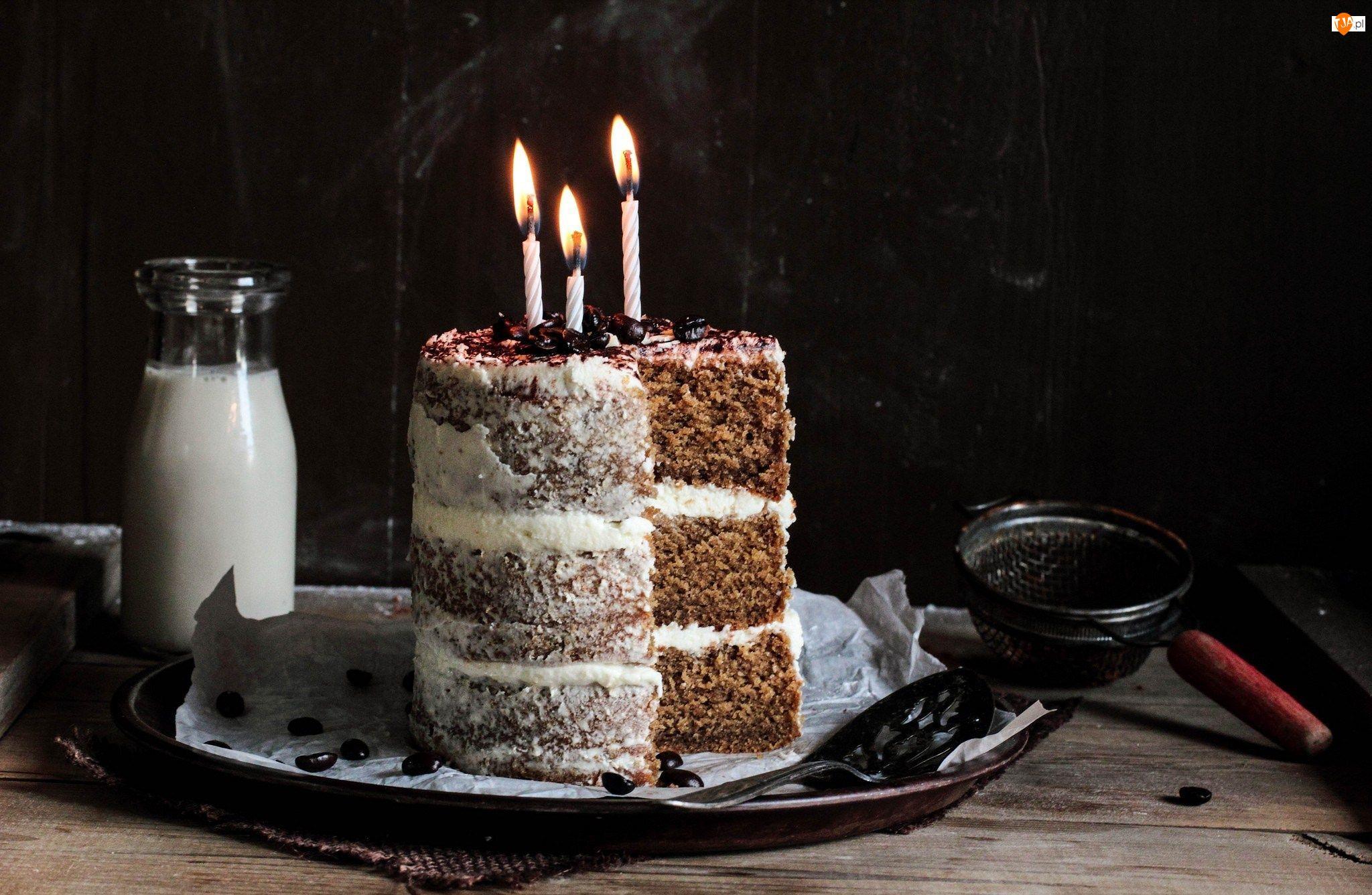 Tort, Urodziny, Trzy, Świeczki