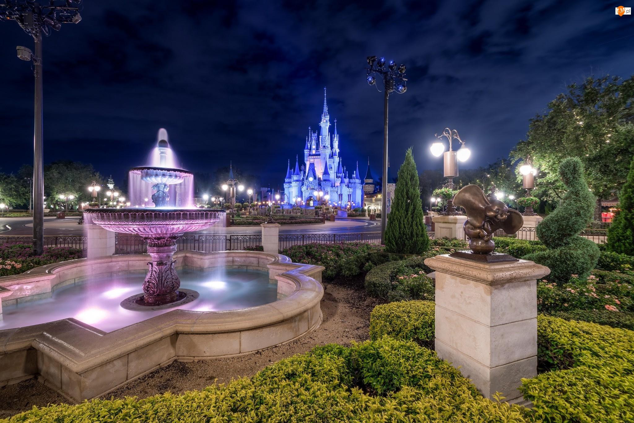 Walt Disney World Resort, Fontanna, Stan Floryda, Światła, Stany Zjednoczone, Noc, Miasto Bay Lake, Disneyland
