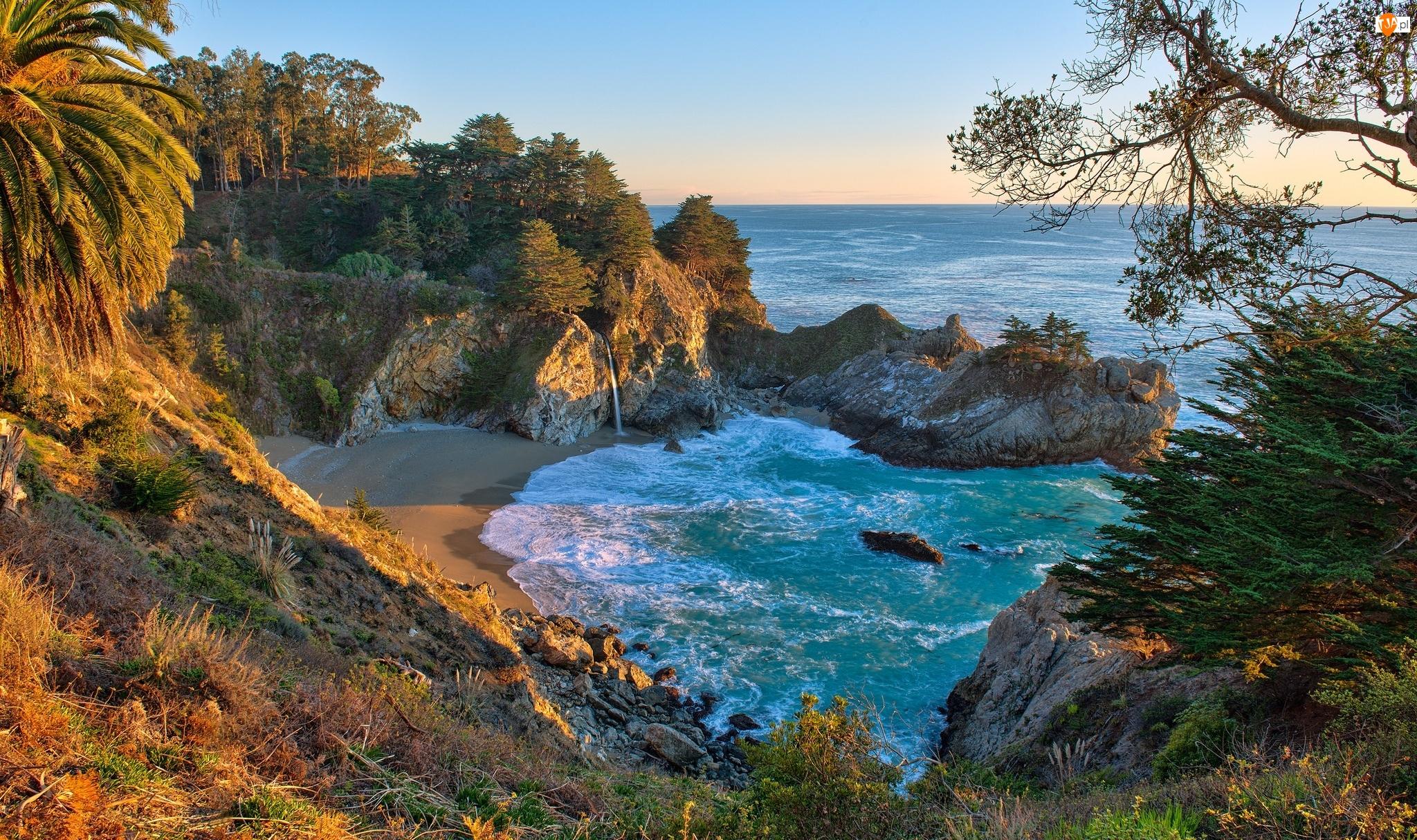 Morze, Wodospad McWay Falls, Zatoka, Roślinność, Drzewa, Stany Zjednoczone, Okręg Monterey, Zatoczka McWay Cove, Kalifornia, Skały, Park stanowy Julii Pfeiffer Burns, Wybrzeże
