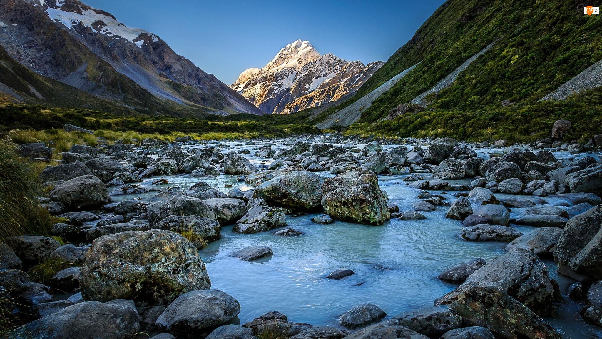 Kamienie, Nowa Zelandia, Góra Cooka - Mount Cook, Rzeka Hooker, Góry