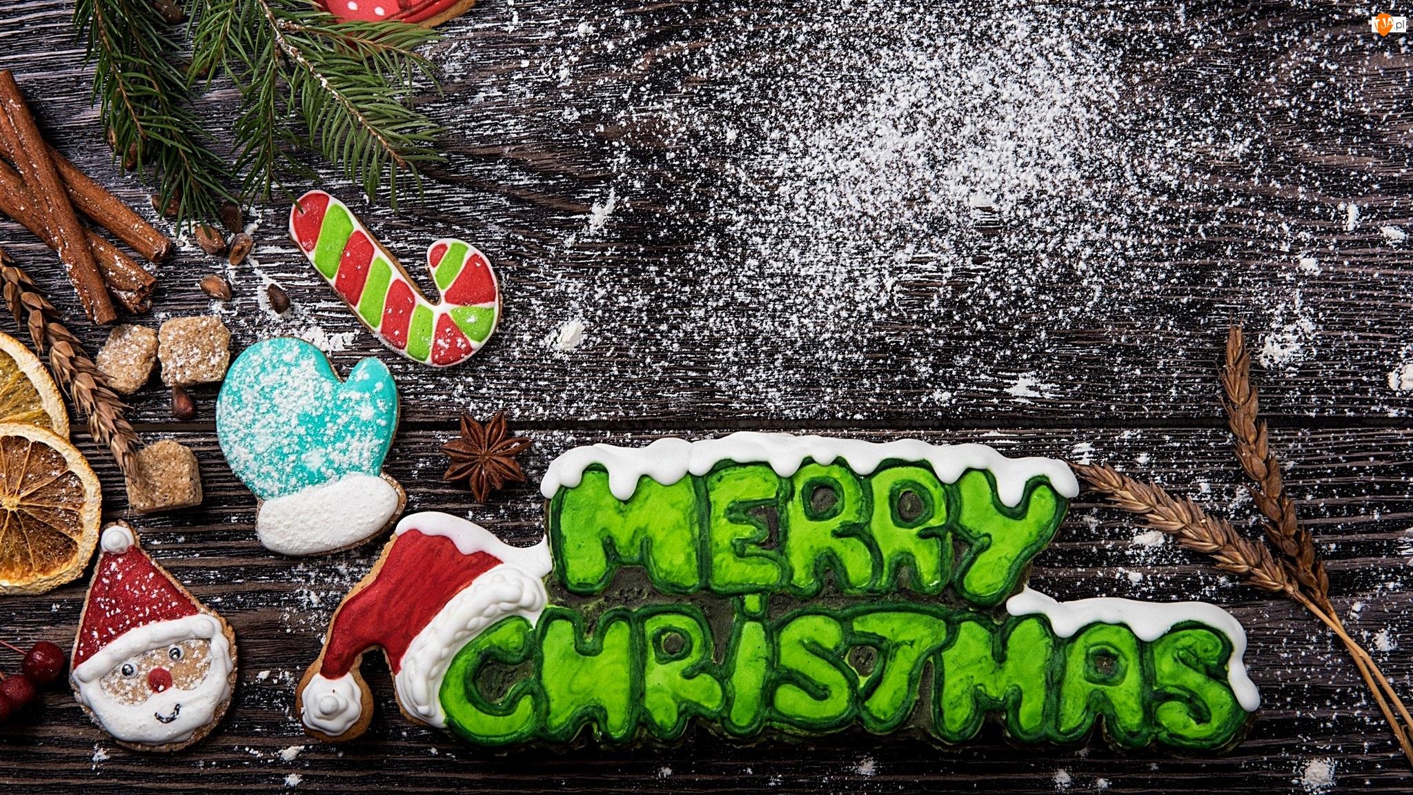 Pierniczki, Kompozycja, Napis, Boże Narodzenie, Merry Christmas