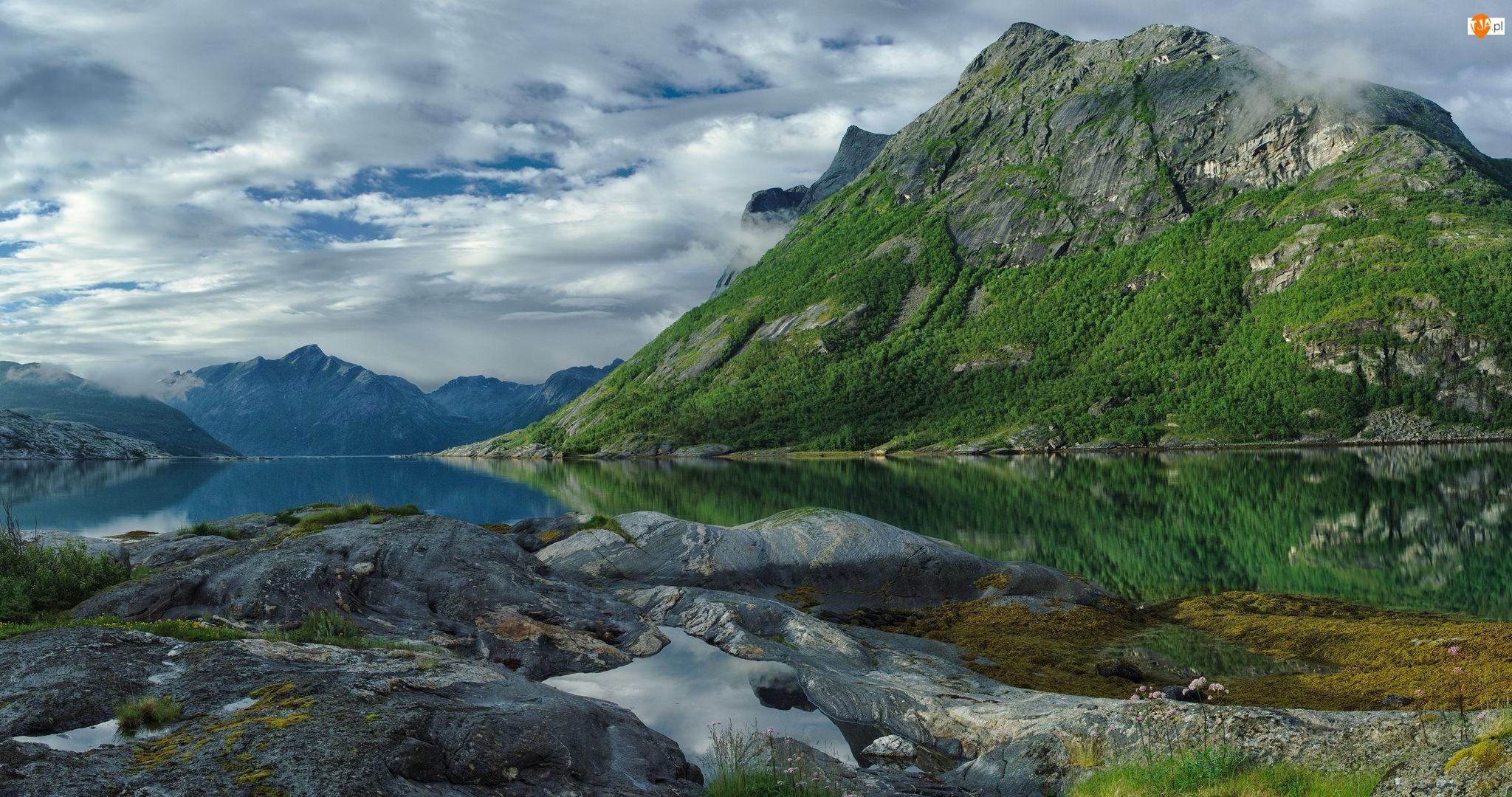 Odbicie, Góry, Skały, Jezioro, Rośliny