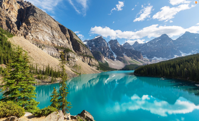 Park Narodowy Banff, Drzewa, Kanada, Chmury, Prowincja Alberta, Jezioro Moraine