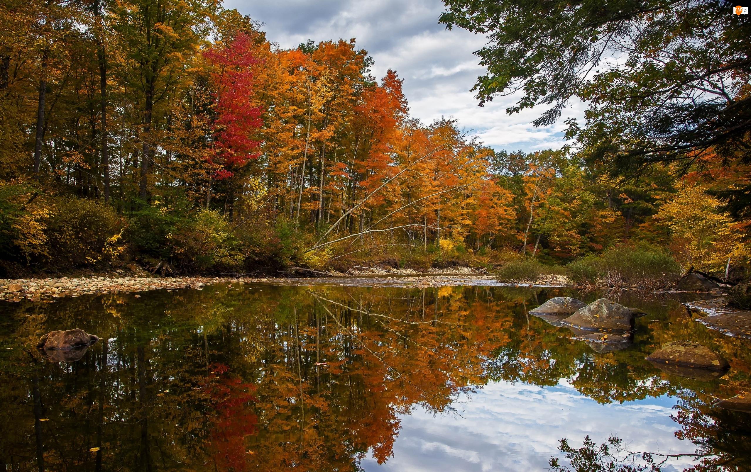 Jesień, Kamienie, Rzeka, Odbicie, Drzewa, Chmury