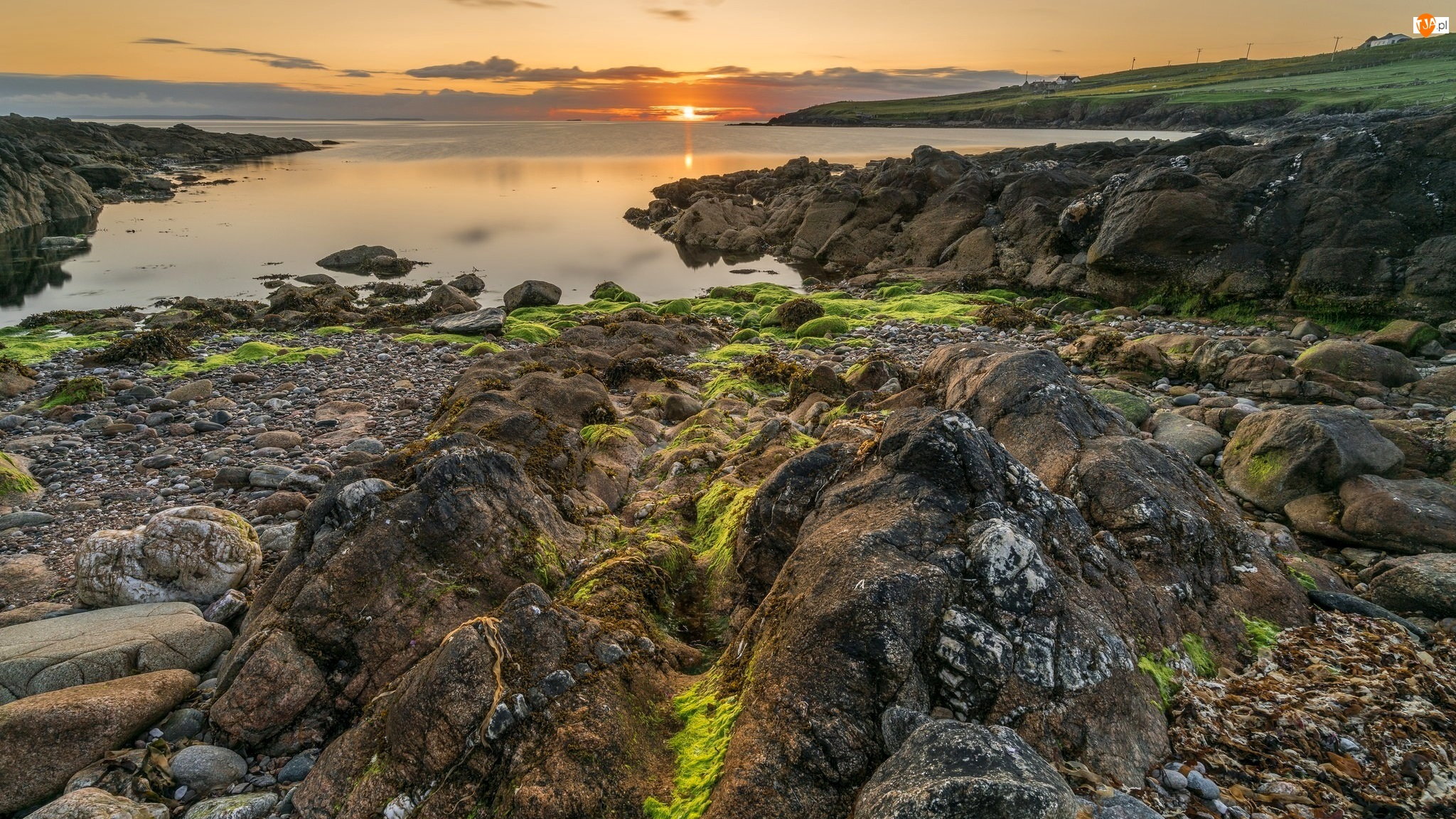 Osada Skaw, Morze Północne, Szetlandy, Wschód słońca, Szkocja, Skały, Wyspa Whalsay, Kamienie