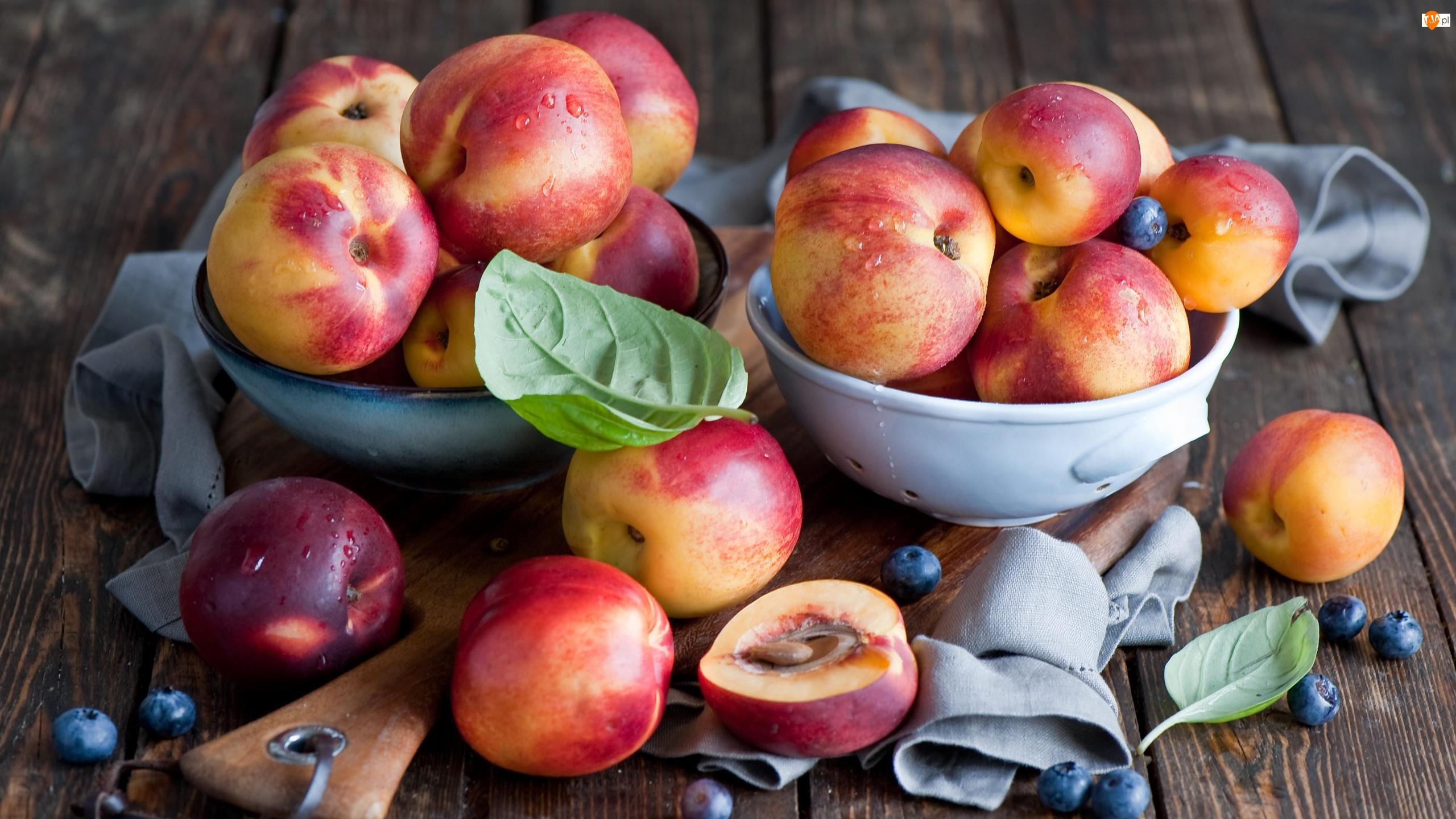 Borówki, Deska, Owoce, Liście, Brzoskwinie, Miska