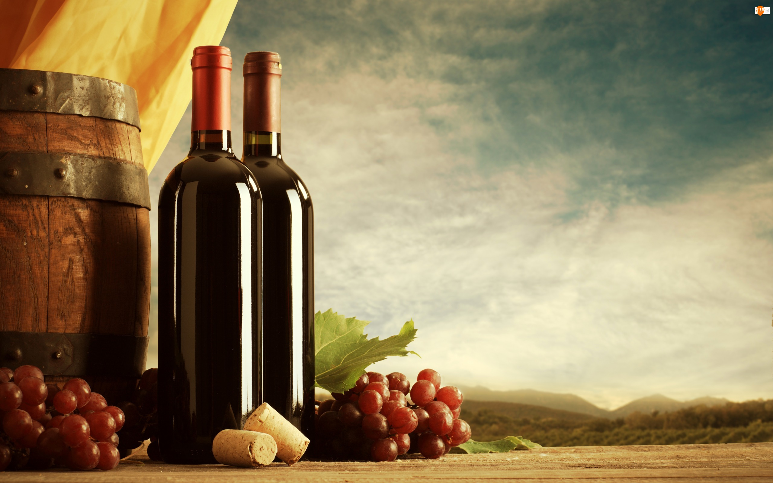 Winogrona, Beczka, Dwie, Wino, Butelki