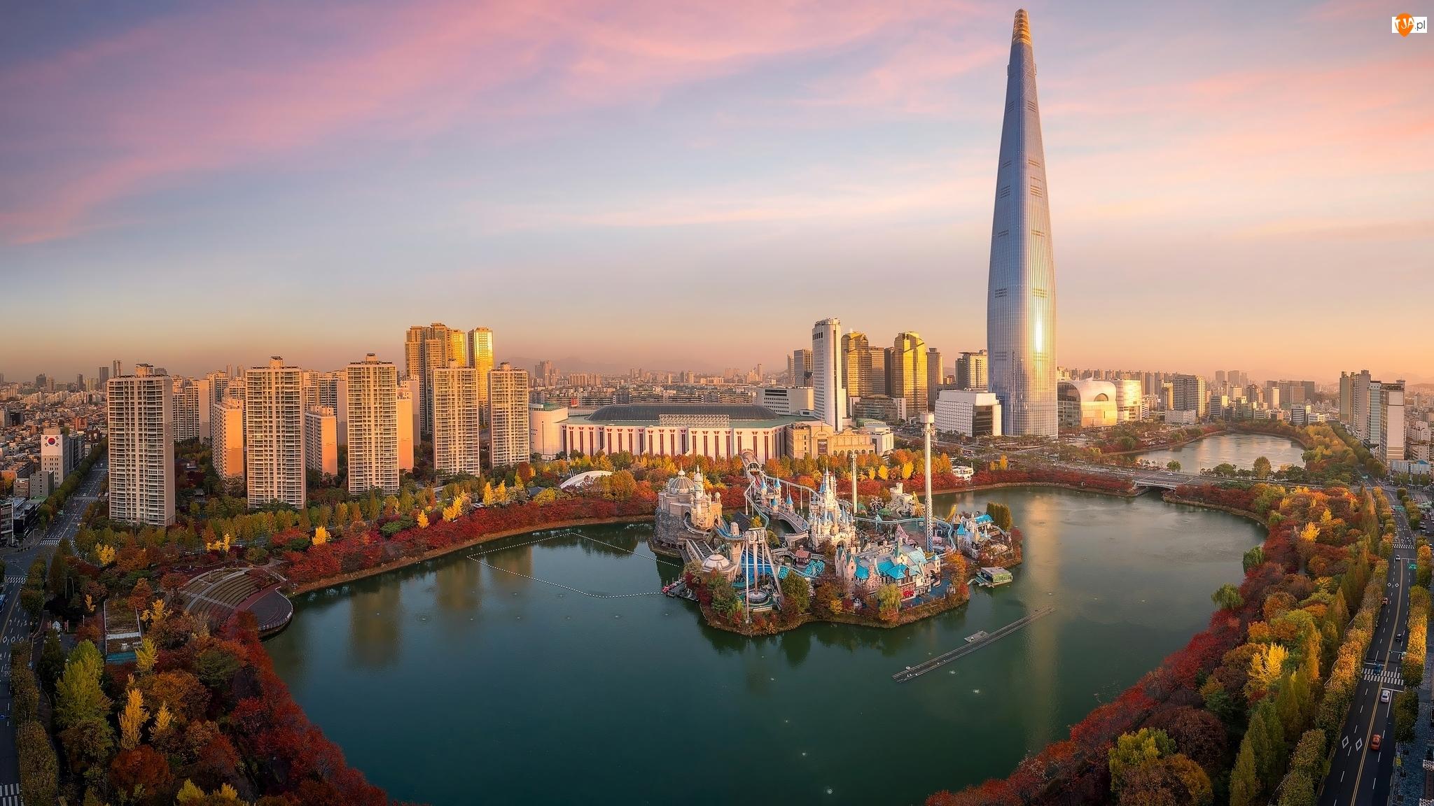 Jezioro, Korea Południowa, Budynek Lotte World Tower, Seul, Park rozrywki Lotte World