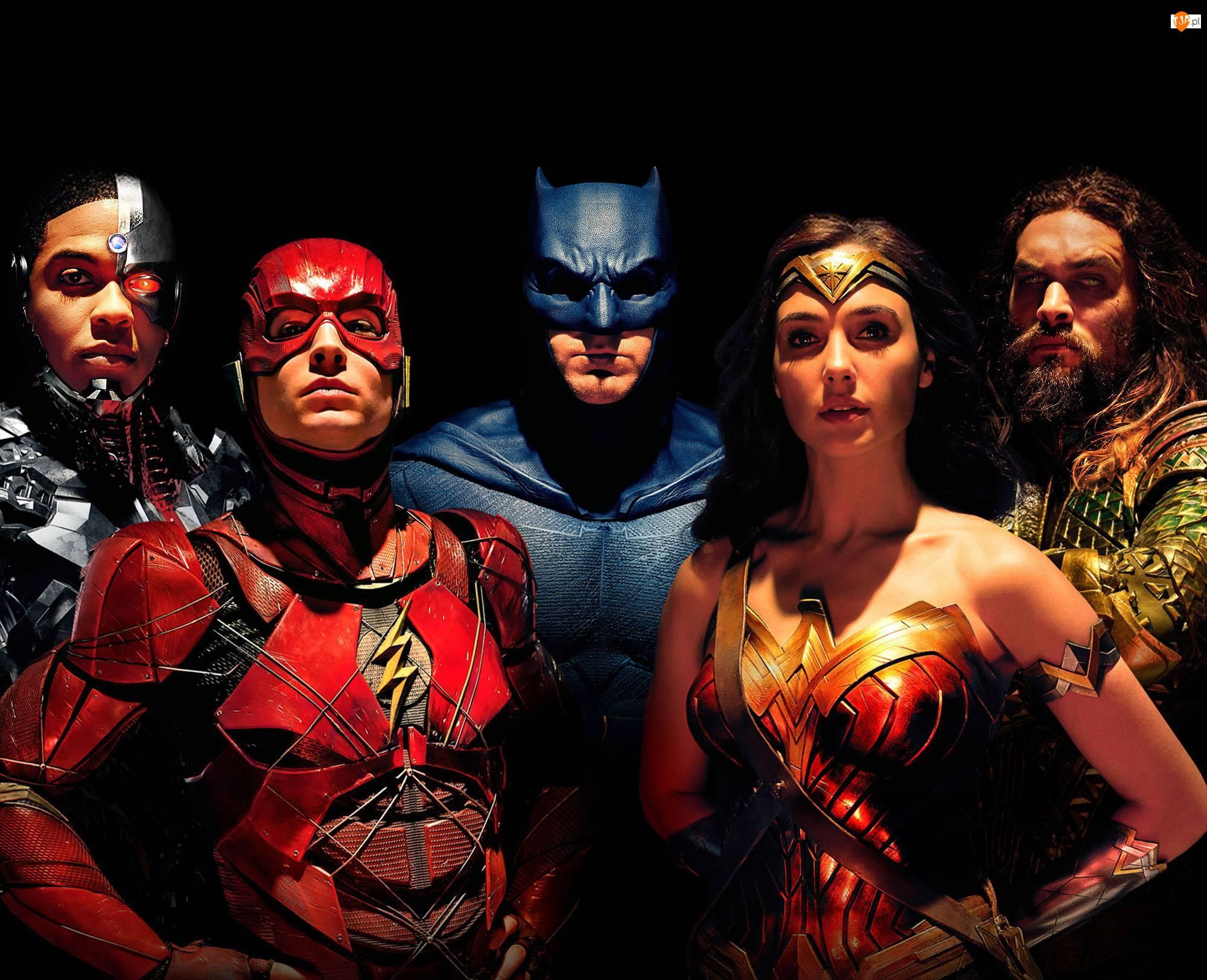 Ezra Miller - Flash, Ben Affleck - Batman, Liga Sprawiedliwości - Justice League, Film, Gal Gadot - Wonder Woman, Ray Fisher - Cyborg, Jason Momoa - Aquaman
