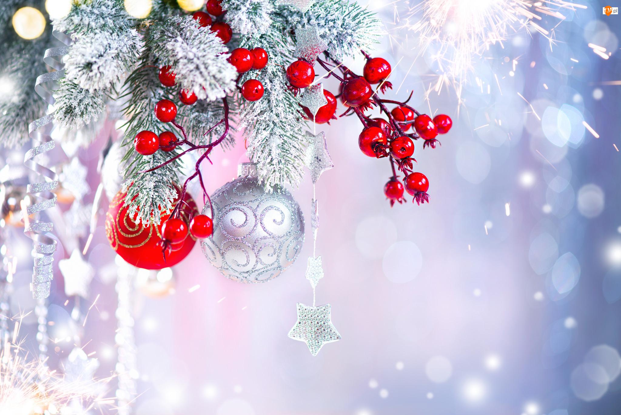 Śnieg, Dekoracja, Bombki, Świąteczna, Gałązki