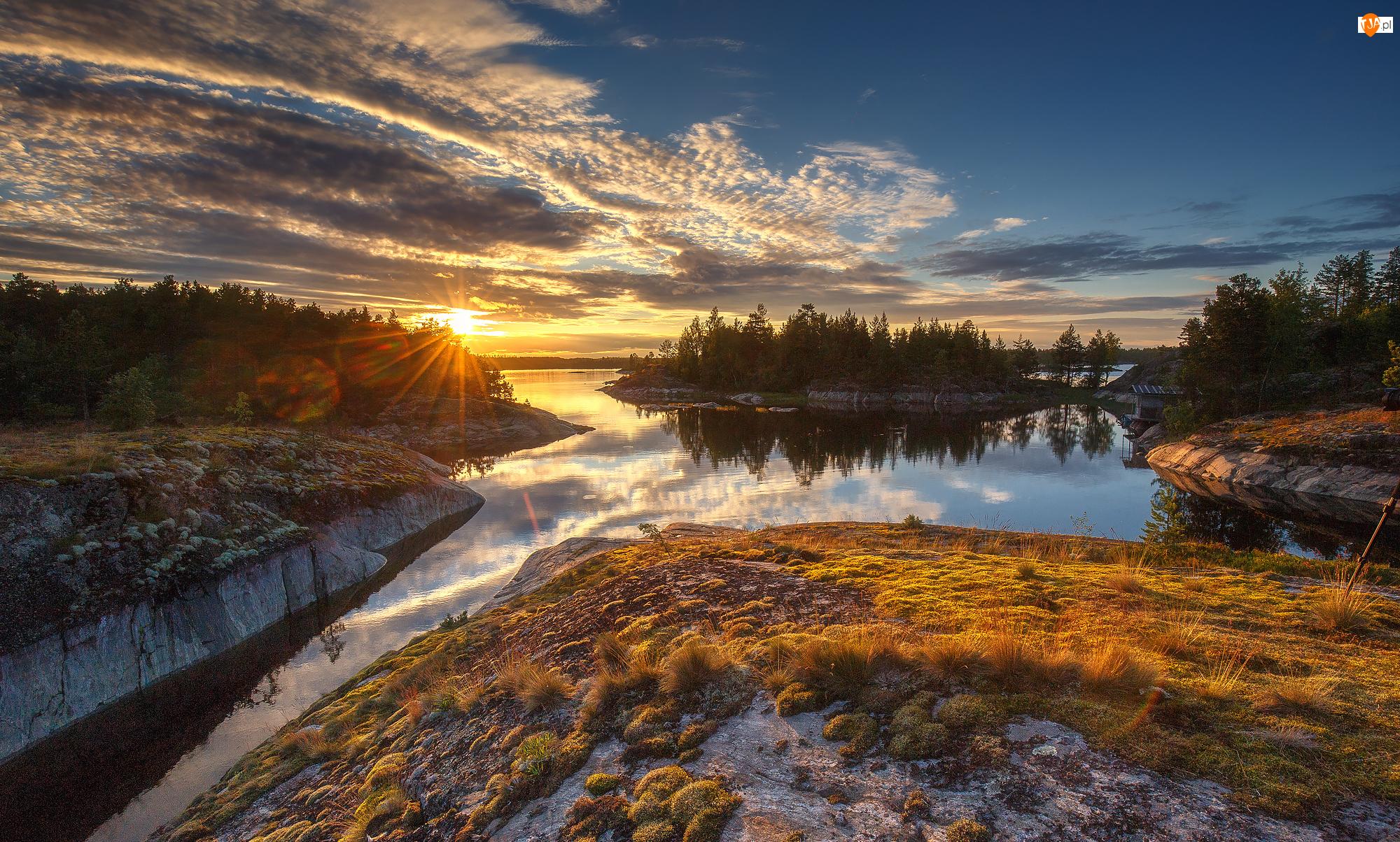 Jezioro Ładoga, Skały, Karelia, Drzewa, Rosja, Trawa, Obwód leningradzki, Zachód słońca