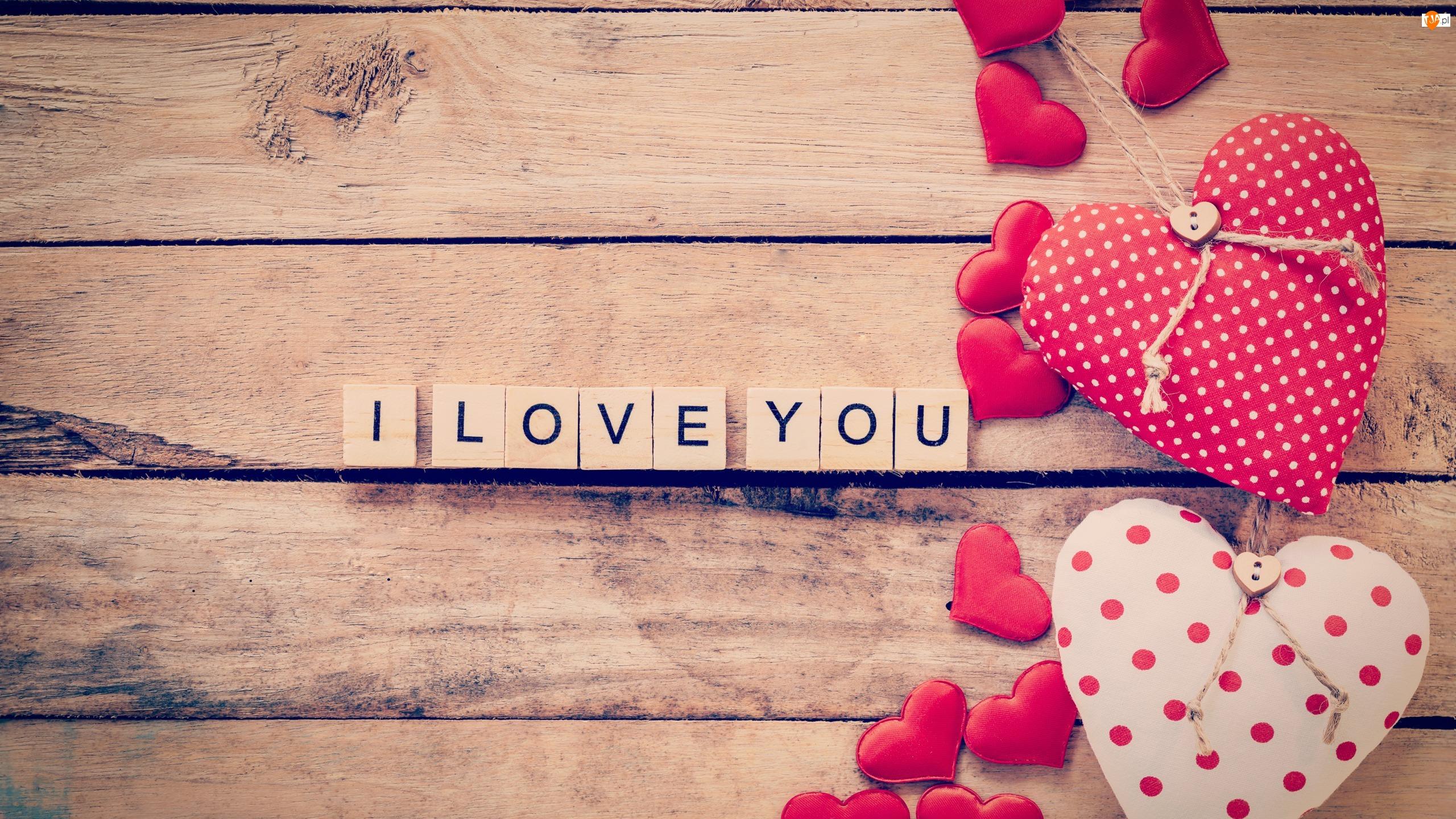 Deski, Walentynki, I love you, Napis, Serca