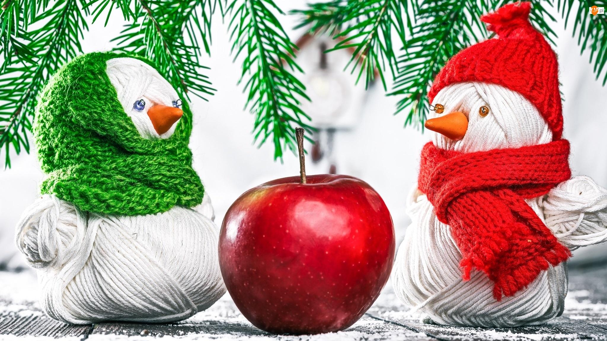 Jabłko, Świąteczna, Włóczka, Gałązki, Świerkowe, Bałwanki, Czapka, Dekoracja, Szalik